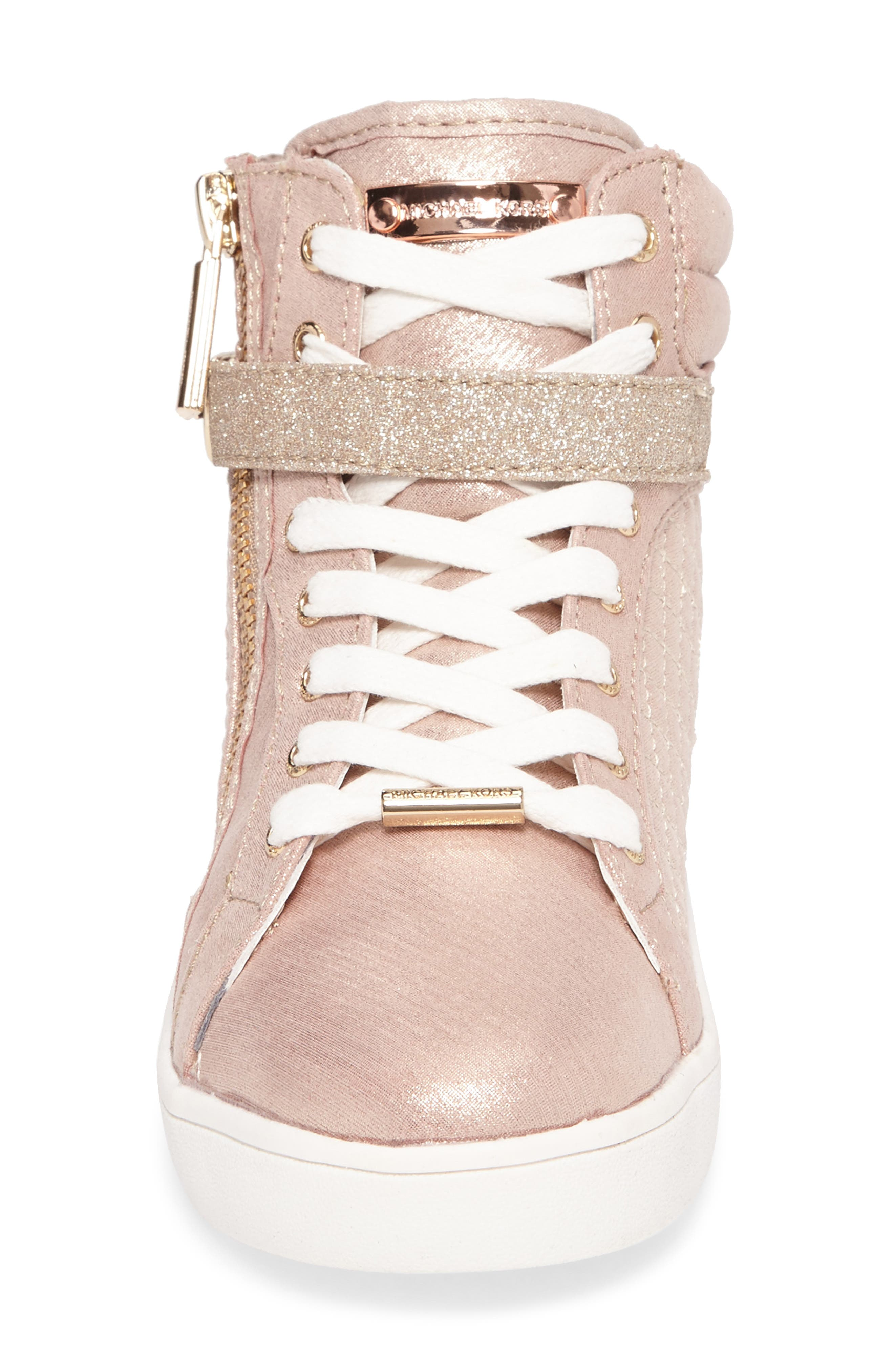 Ivy Rio Glittery High Top Sneaker,                             Alternate thumbnail 4, color,                             Rose Gold