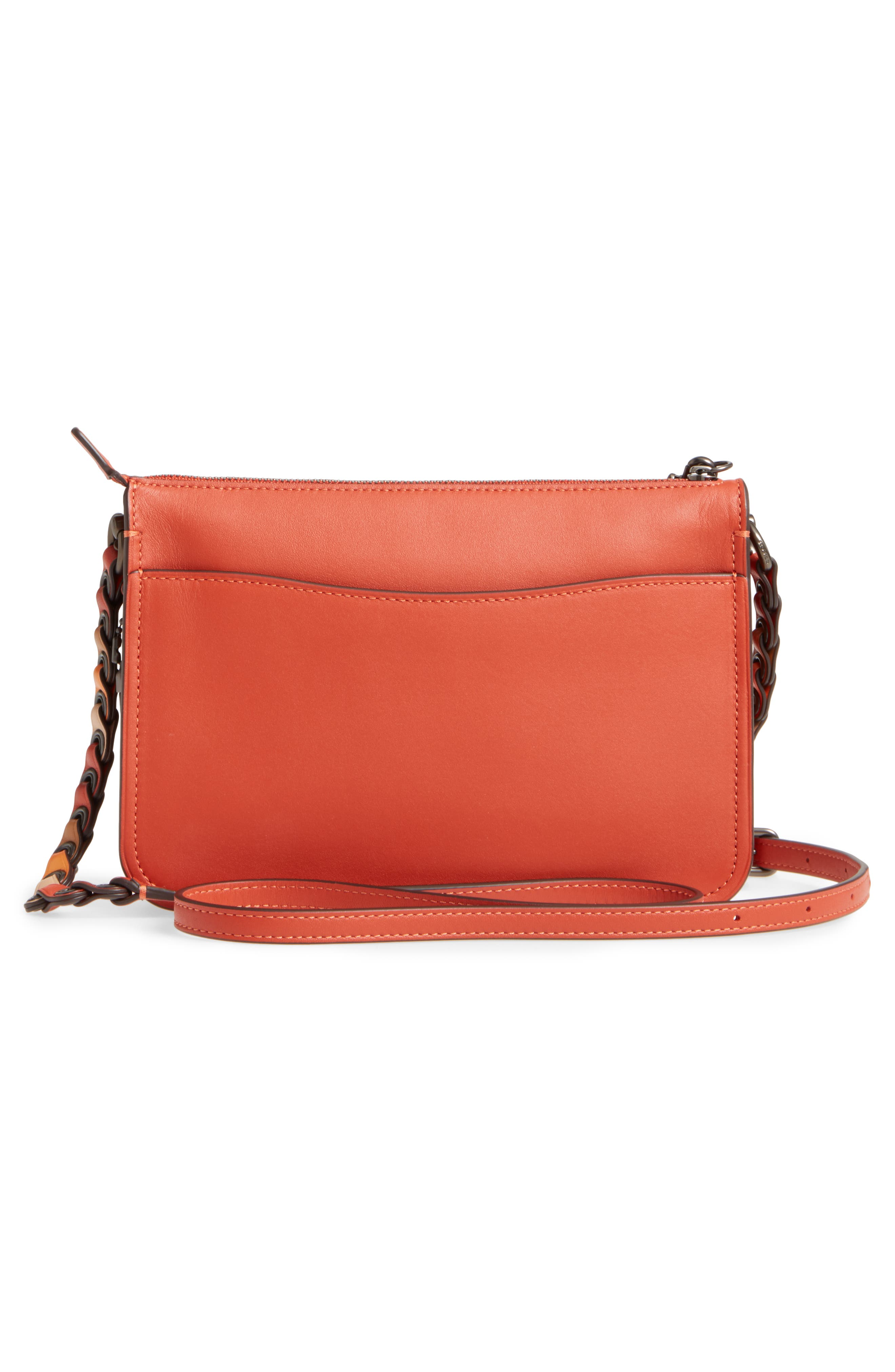 Soho Leather Crossbody Bag,                             Alternate thumbnail 3, color,                             Vermillion