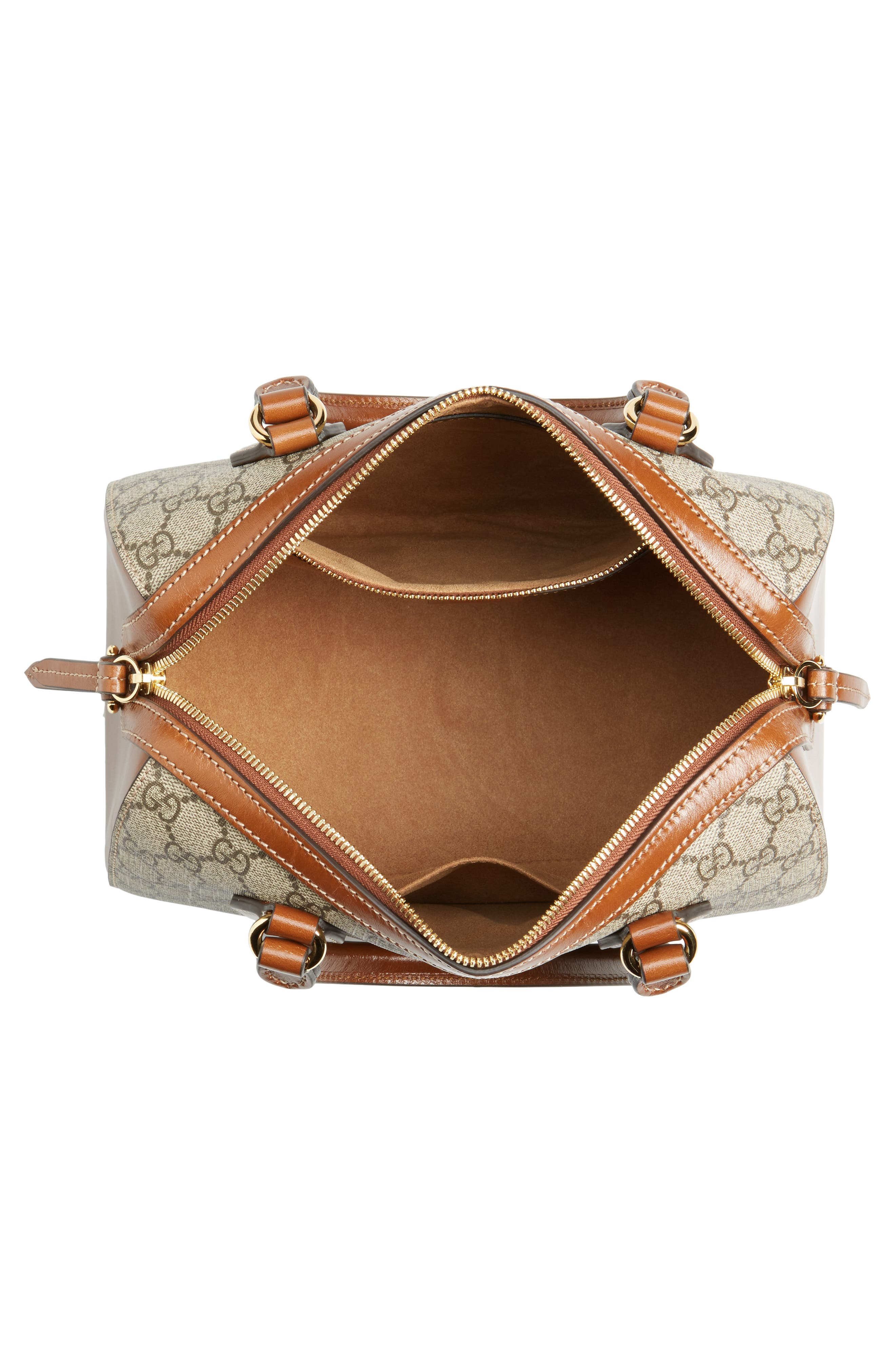 Linea Top Handle GG Supreme Canvas & Leather Bag,                             Alternate thumbnail 4, color,                             Beige/ Ebony/ Cuir