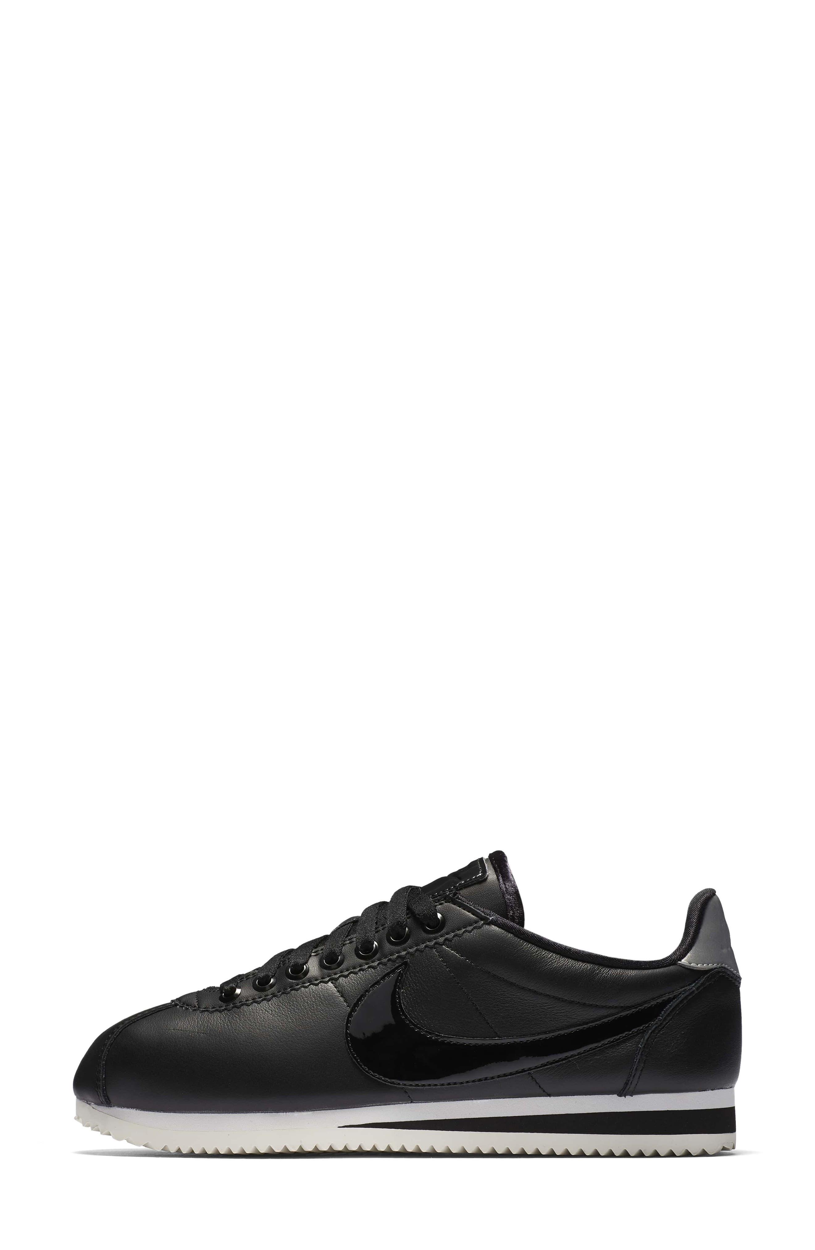 Classic Cortez SE Premium Sneaker,                             Alternate thumbnail 2, color,                             Black/ Black Reflect Silver