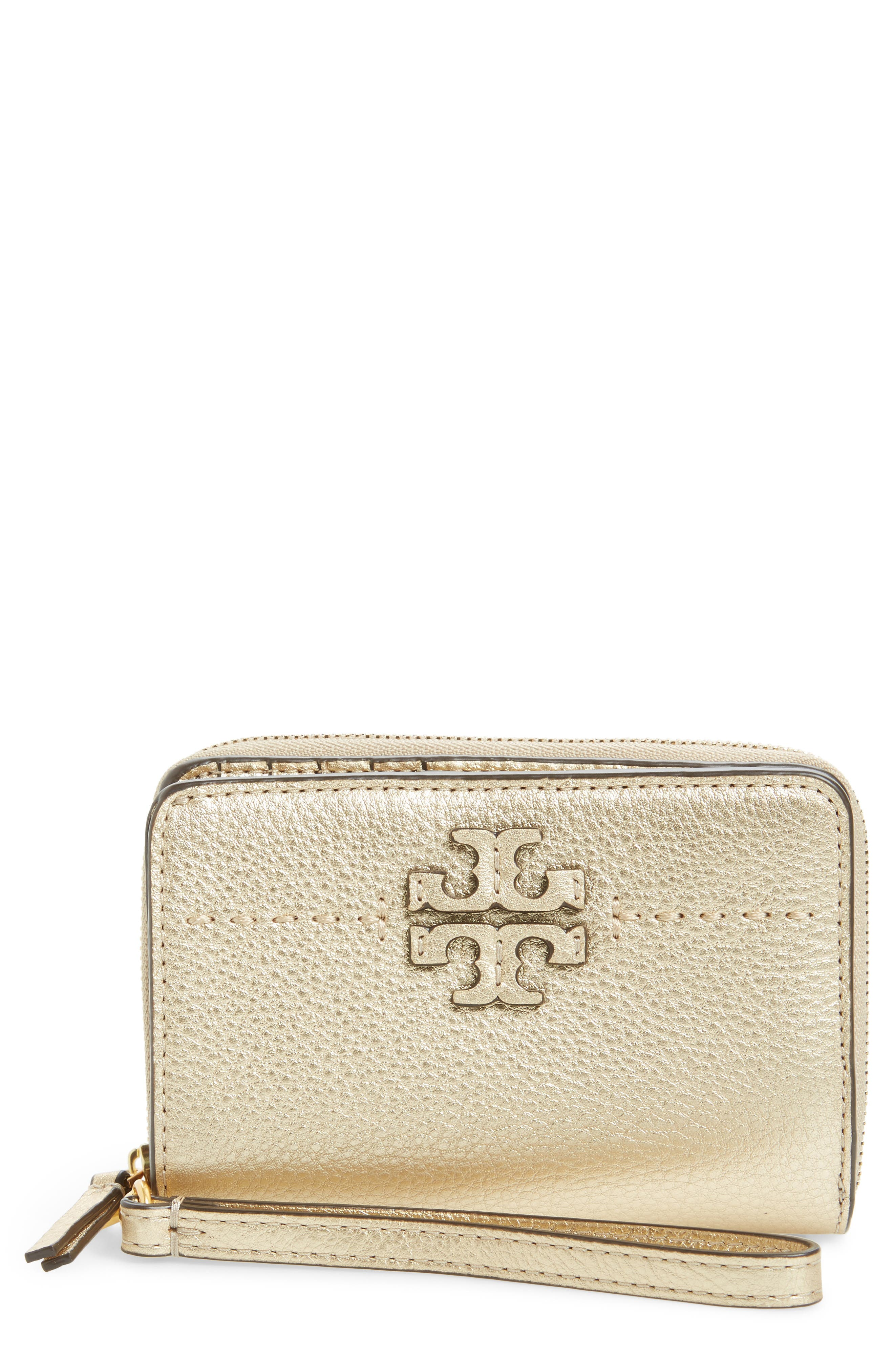 McGraw Leather Bifold Wallet,                             Main thumbnail 1, color,                             Gold
