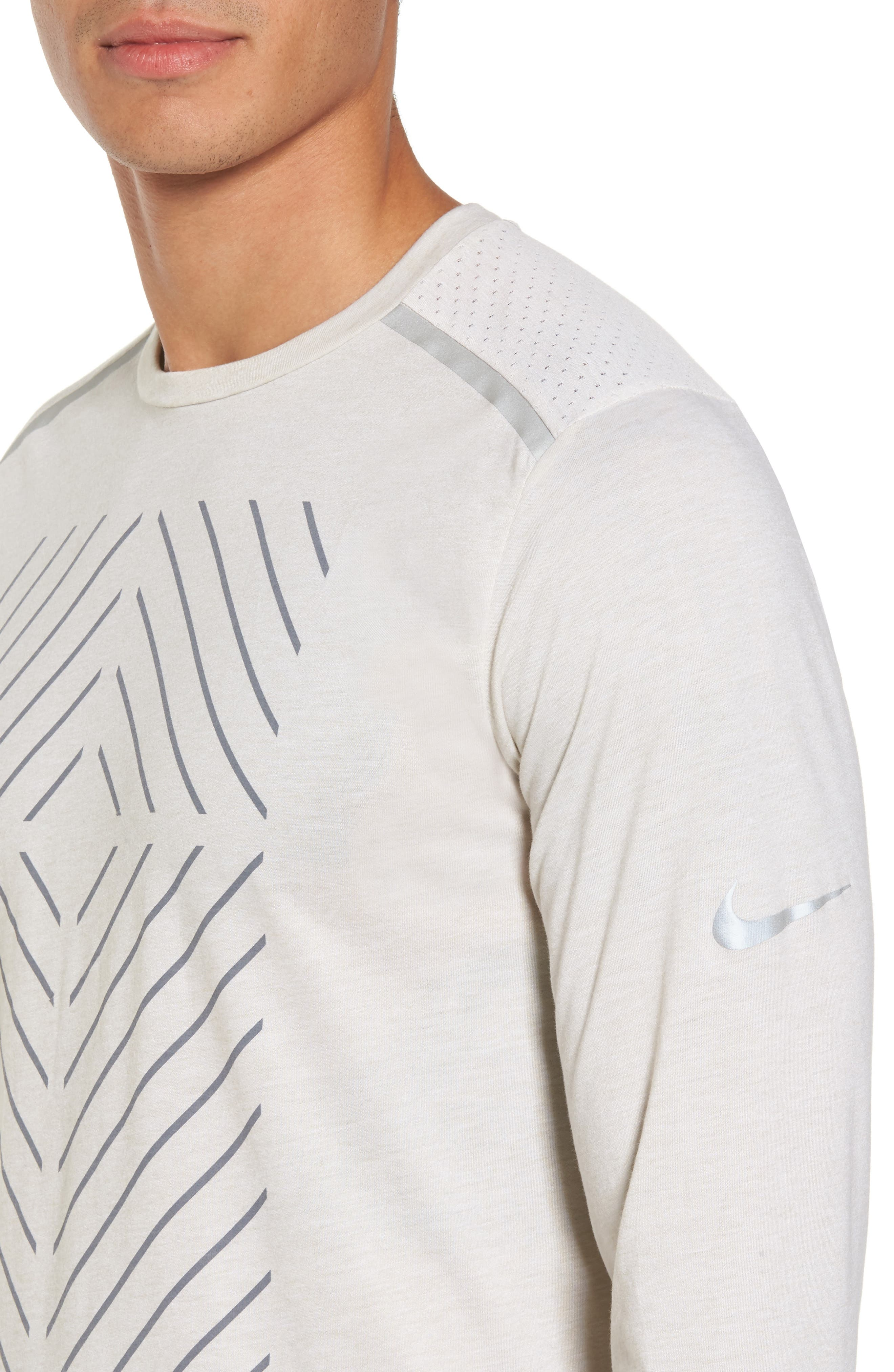 Tailwind Long Sleeve Running T-Shirt,                             Alternate thumbnail 4, color,                             Light Bone/ Heather
