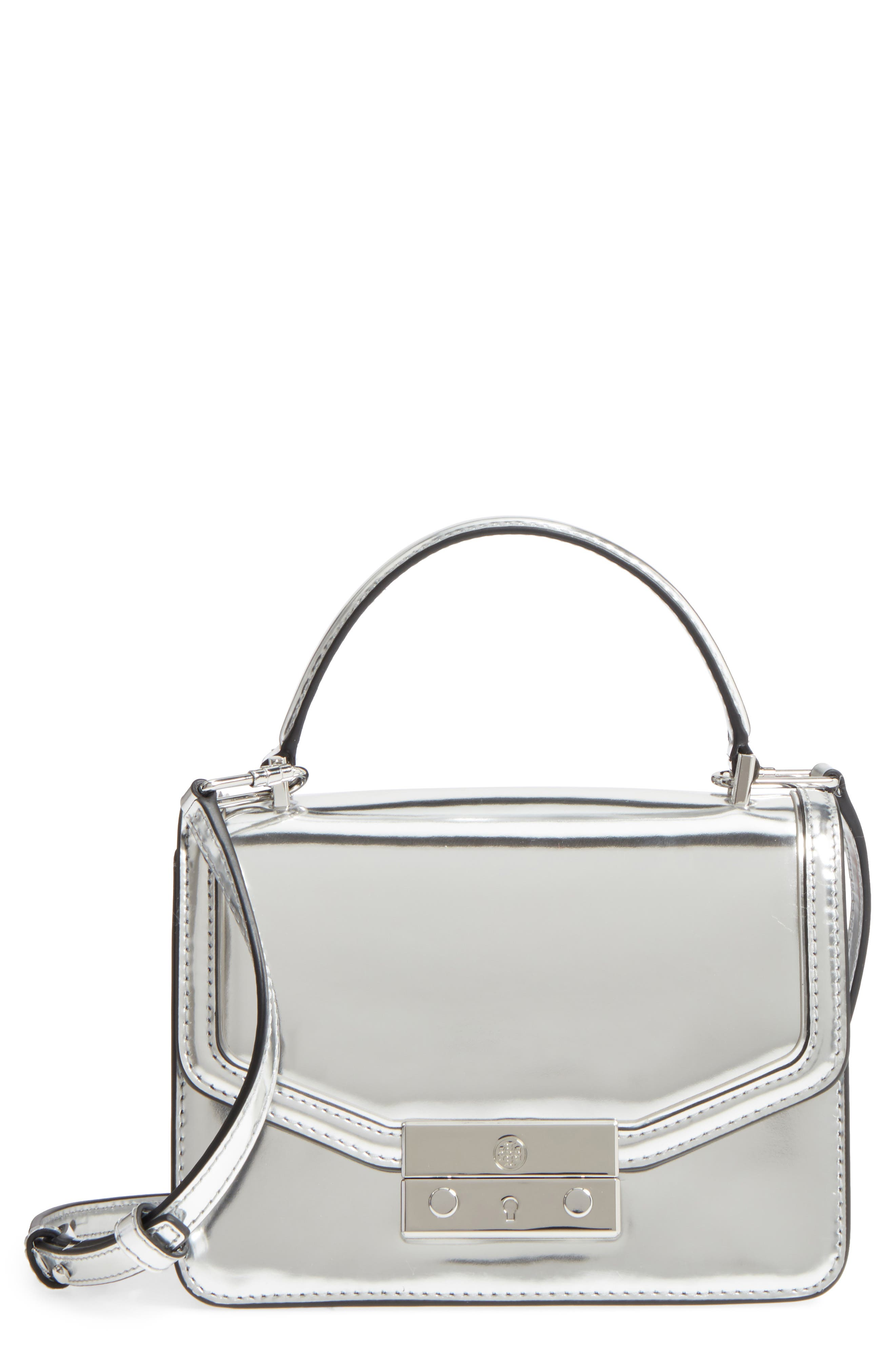 Mini Juliette Metallic Leather Top Handle Satchel,                         Main,                         color, Silver