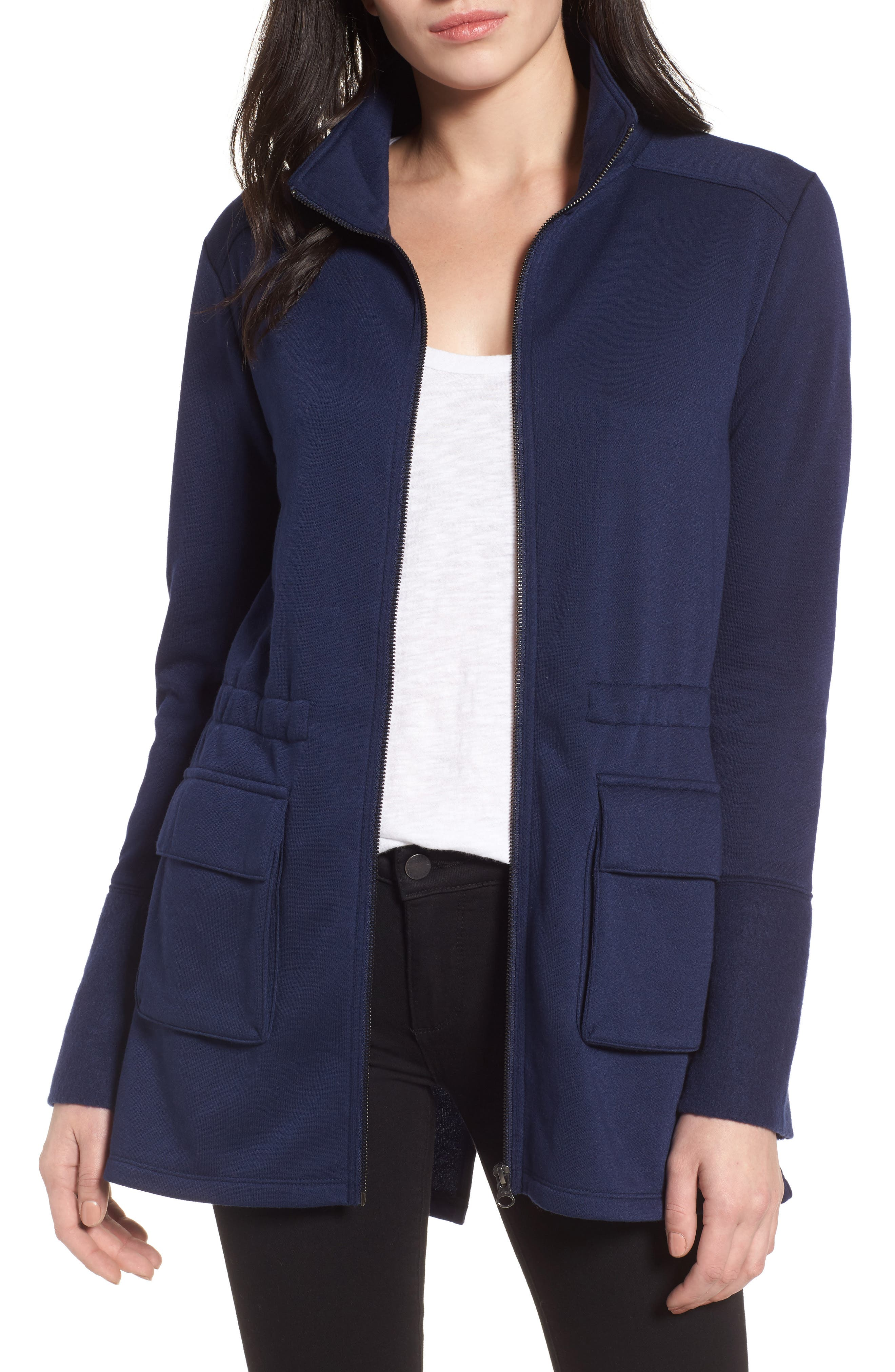 Gathered Waist Front Zip Jacket,                         Main,                         color, Navy Peacoat