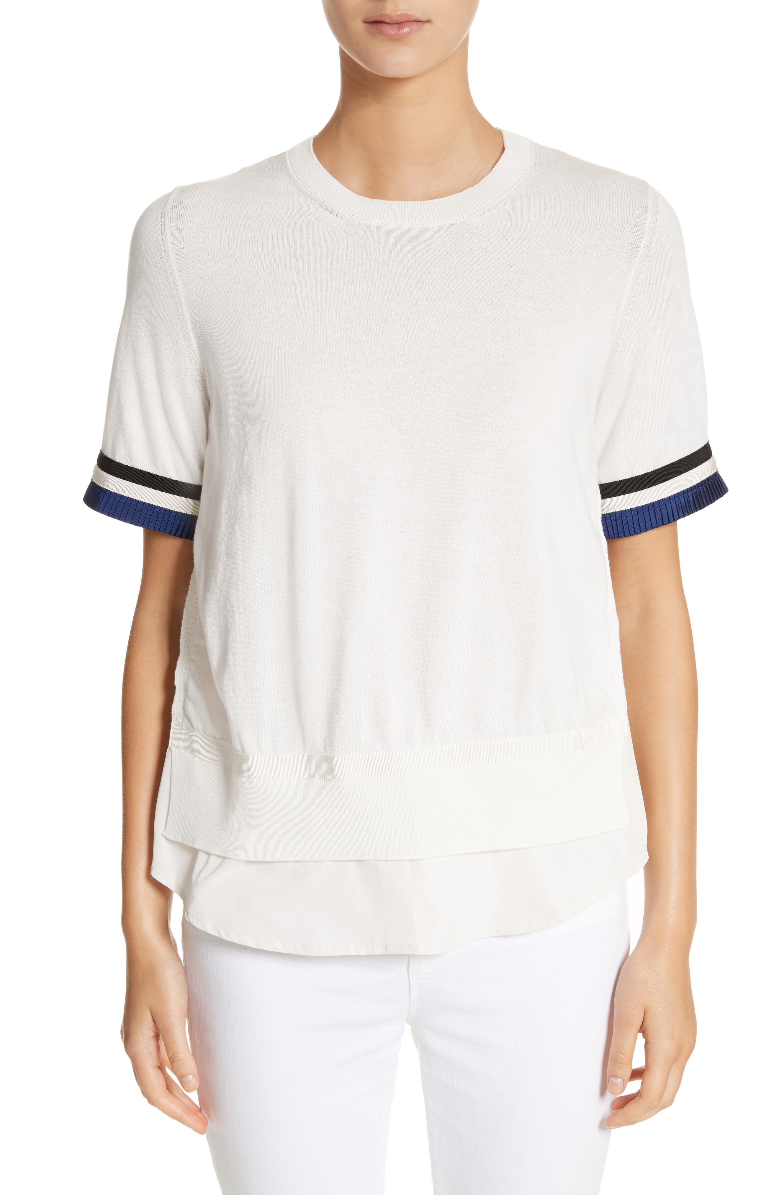 Maglia Mixed Media Top,                         Main,                         color, White / Navy