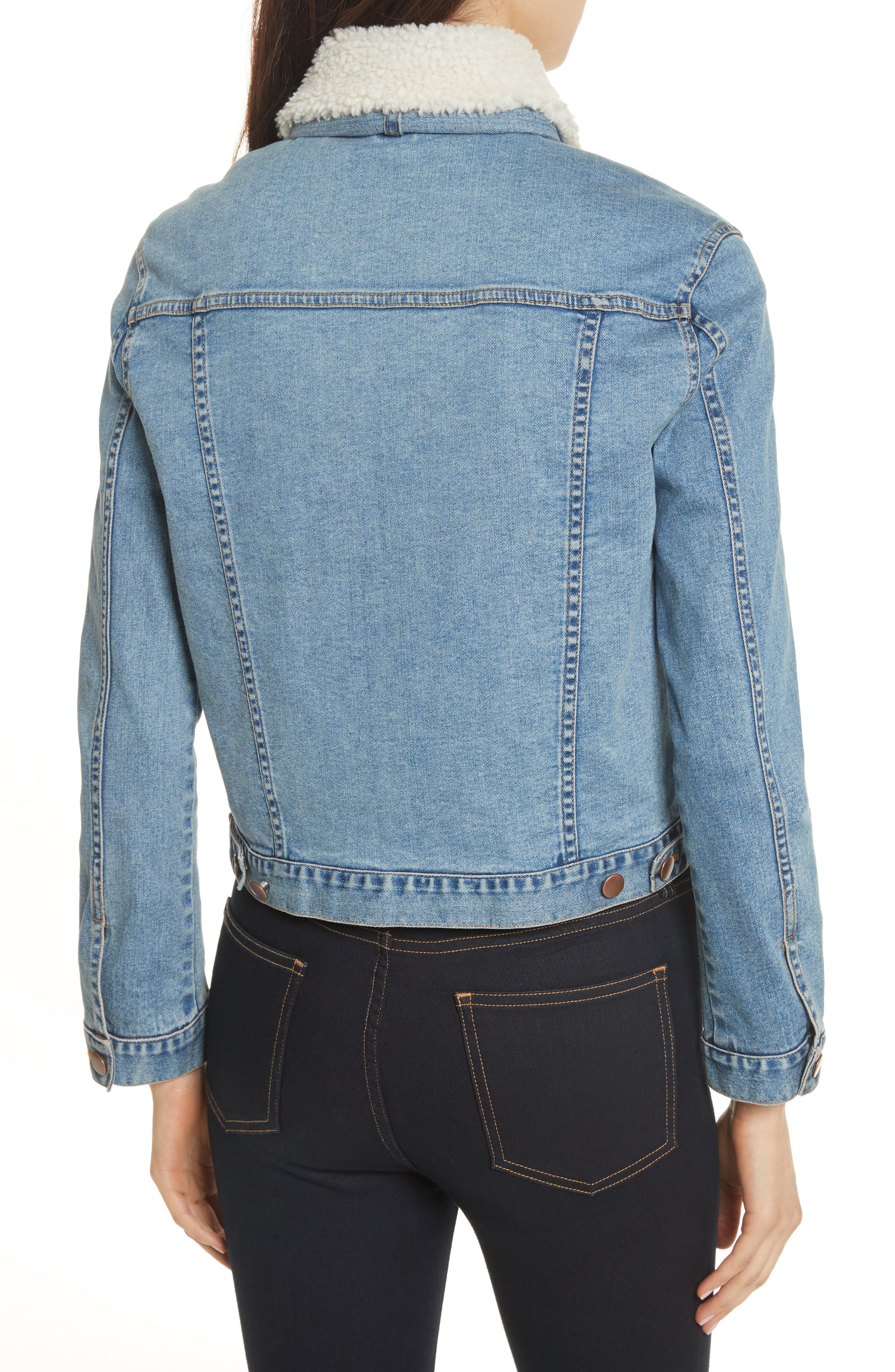 Stevie Jean Jacket with Removable Faux Shearling Collar,                             Alternate thumbnail 2, color,                             Medium Blue