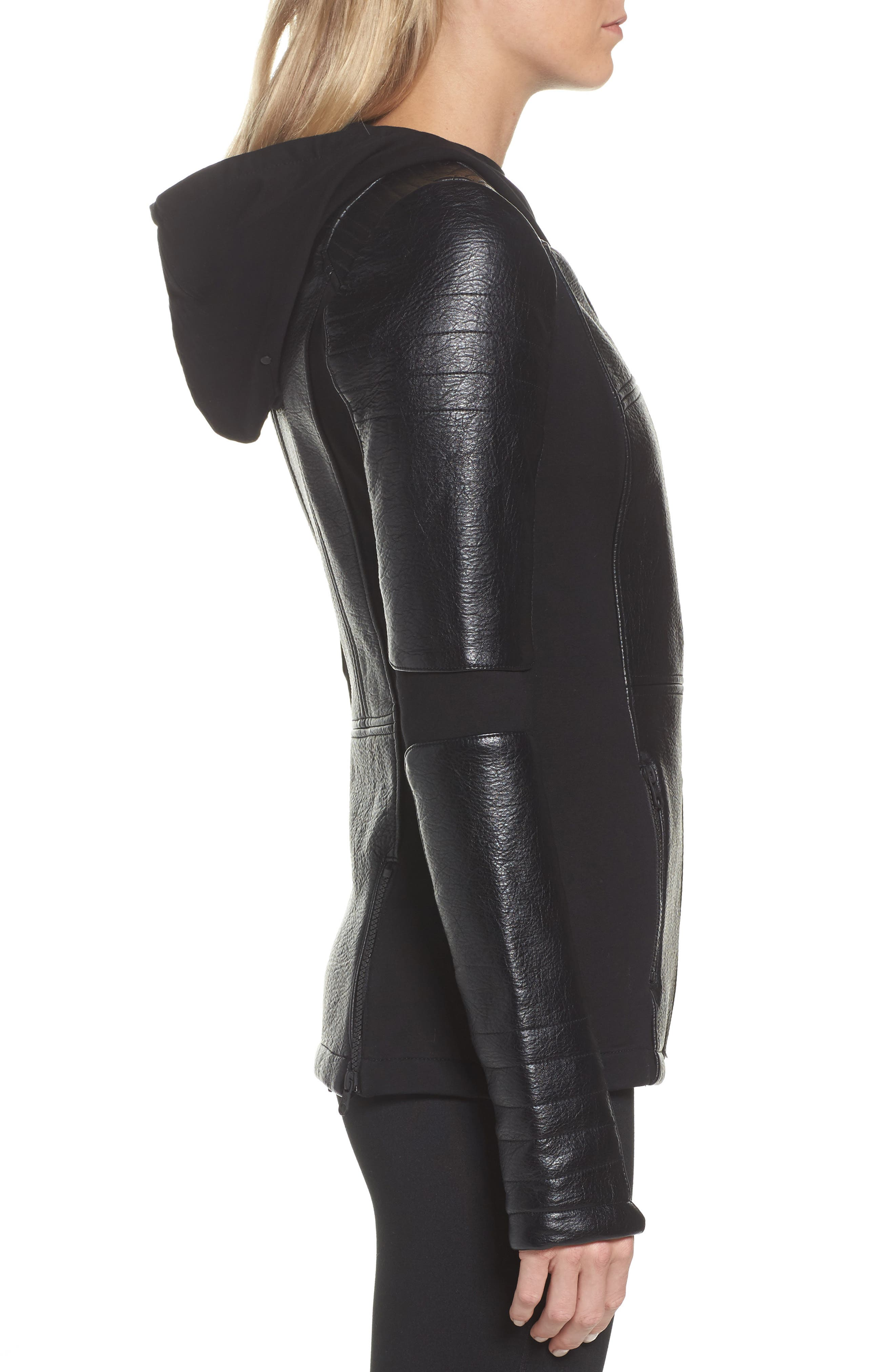 Faux Leather Hooded Moto Jacket,                             Alternate thumbnail 3, color,                             Black
