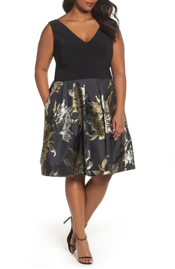 Xscape Knit Brocade Party Dress Plus Size Nordstrom