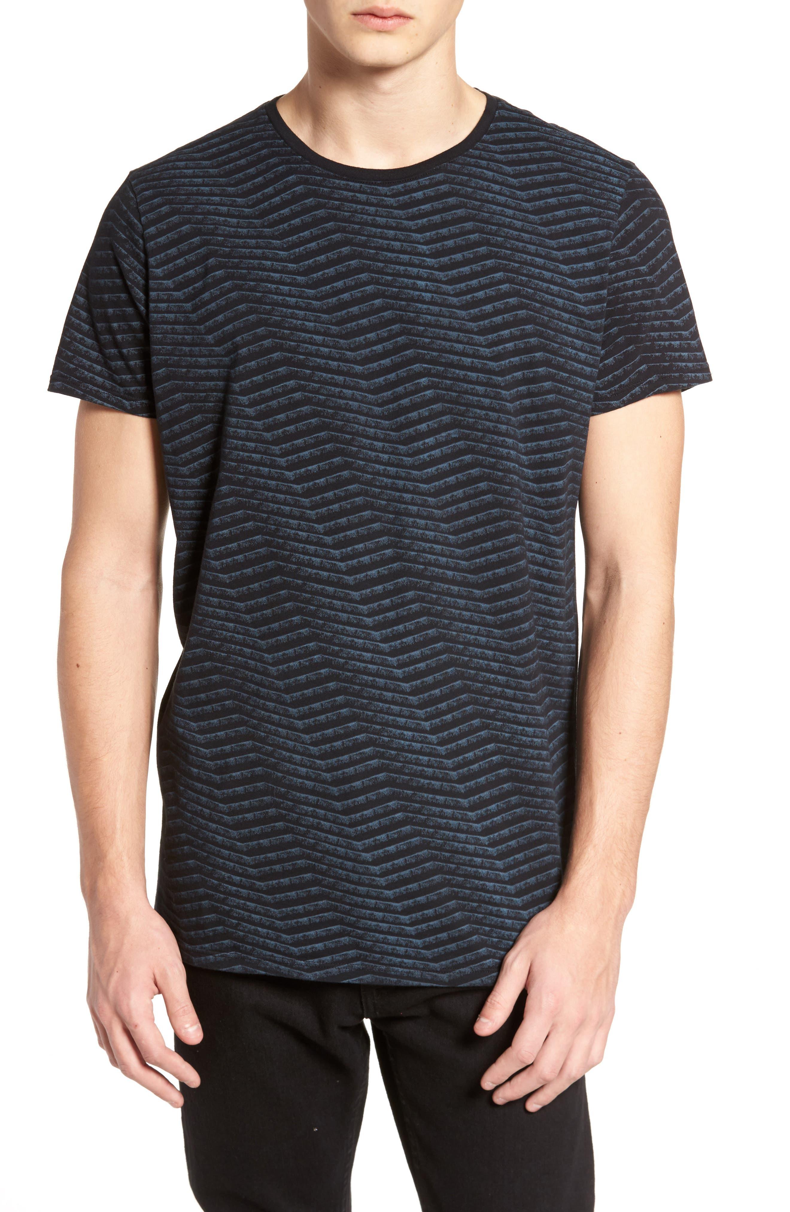 Chevron Stripe T-Shirt,                             Main thumbnail 1, color,                             Black