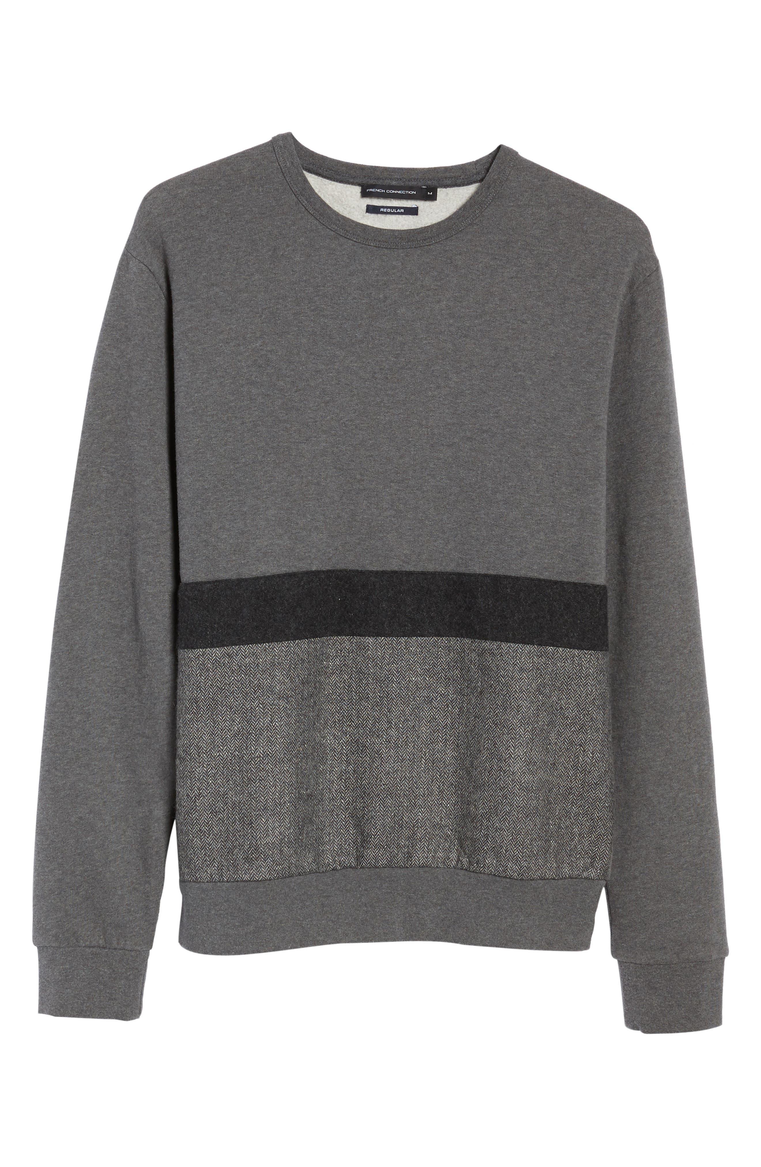 Tweed Appliqué Sweatshirt,                             Alternate thumbnail 6, color,                             Charcoal Melange