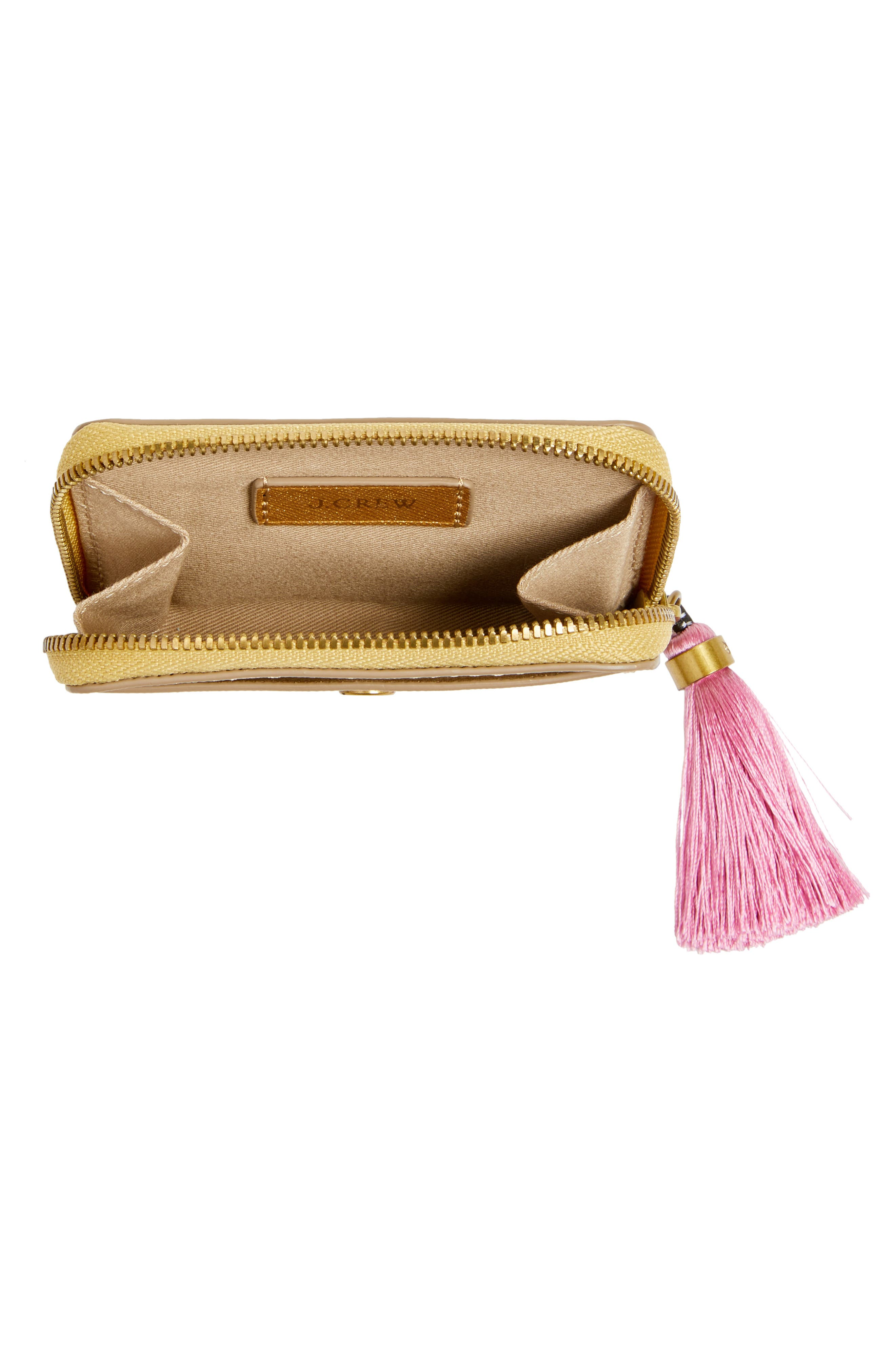 Saffiano Italian Leather Card Case with Tassel,                             Alternate thumbnail 4, color,                             Gold