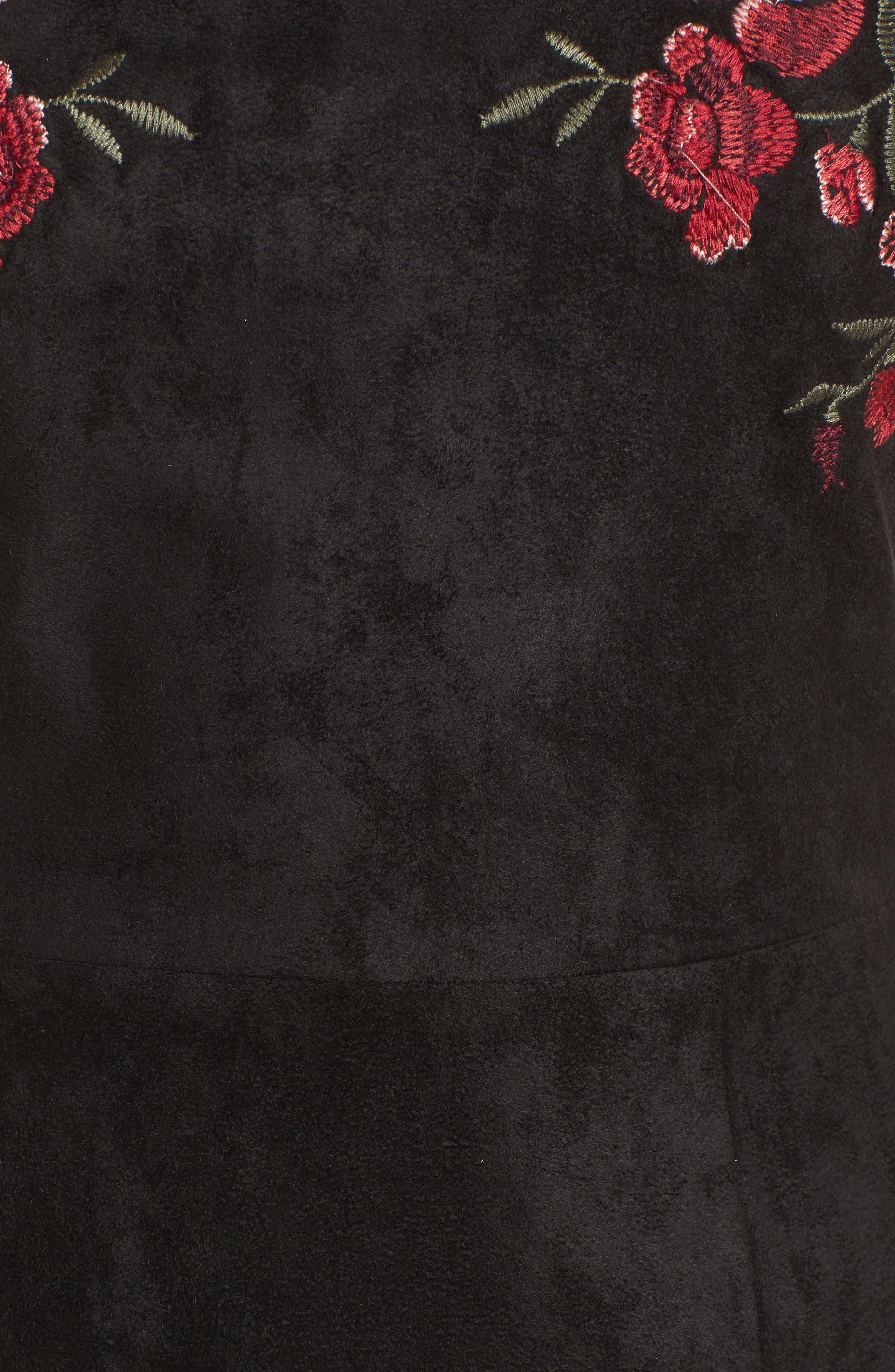 Valet Embroidered Minidress,                             Alternate thumbnail 5, color,                             Black