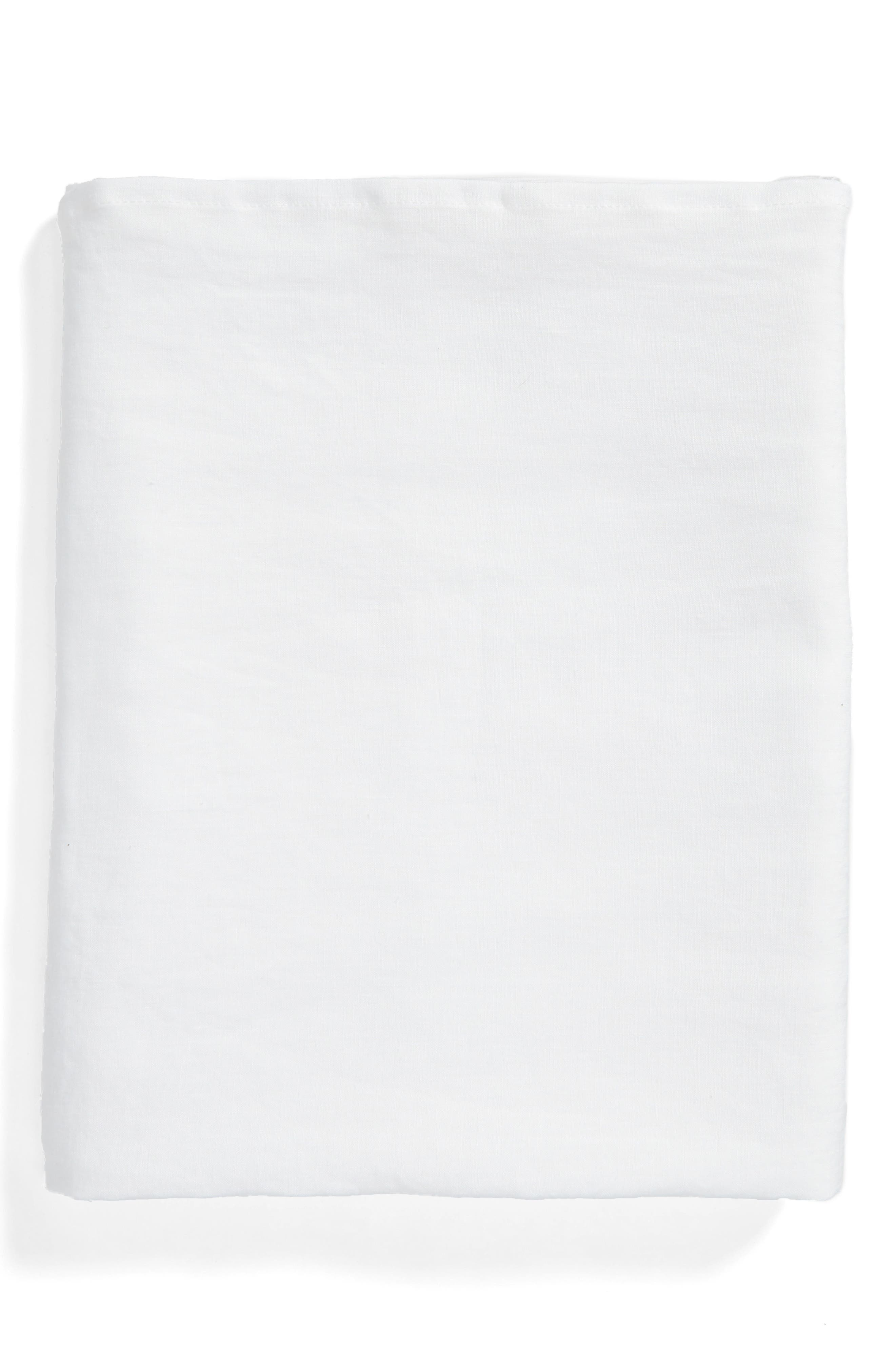 Round Linen Tablecloth,                         Main,                         color, White
