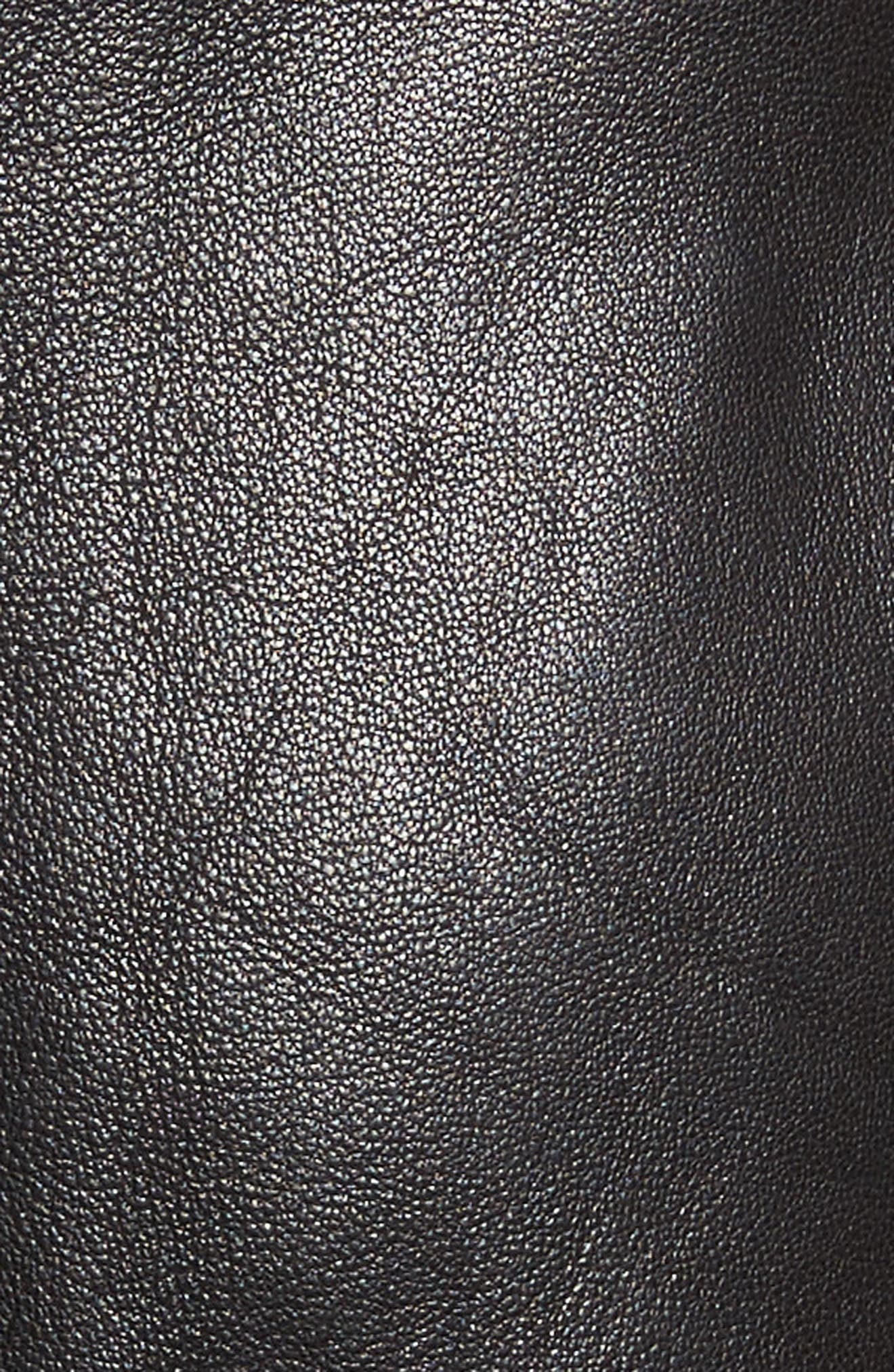 Kahlo Ruffle One-Shoulder Leather Dress,                             Alternate thumbnail 5, color,                             Black