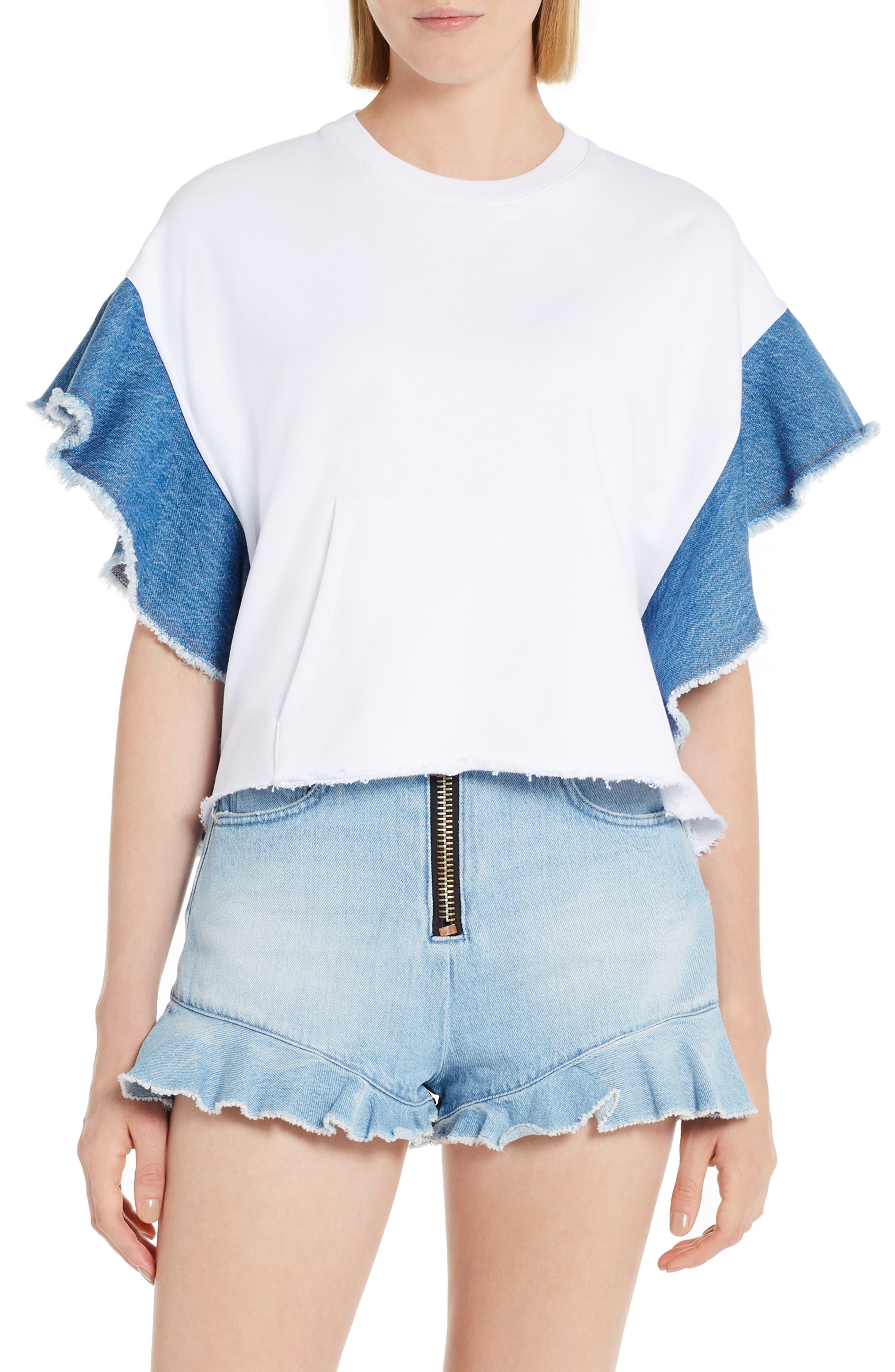 Denim Flutter Sleeve Cotton Top,                             Main thumbnail 1, color,                             White 01