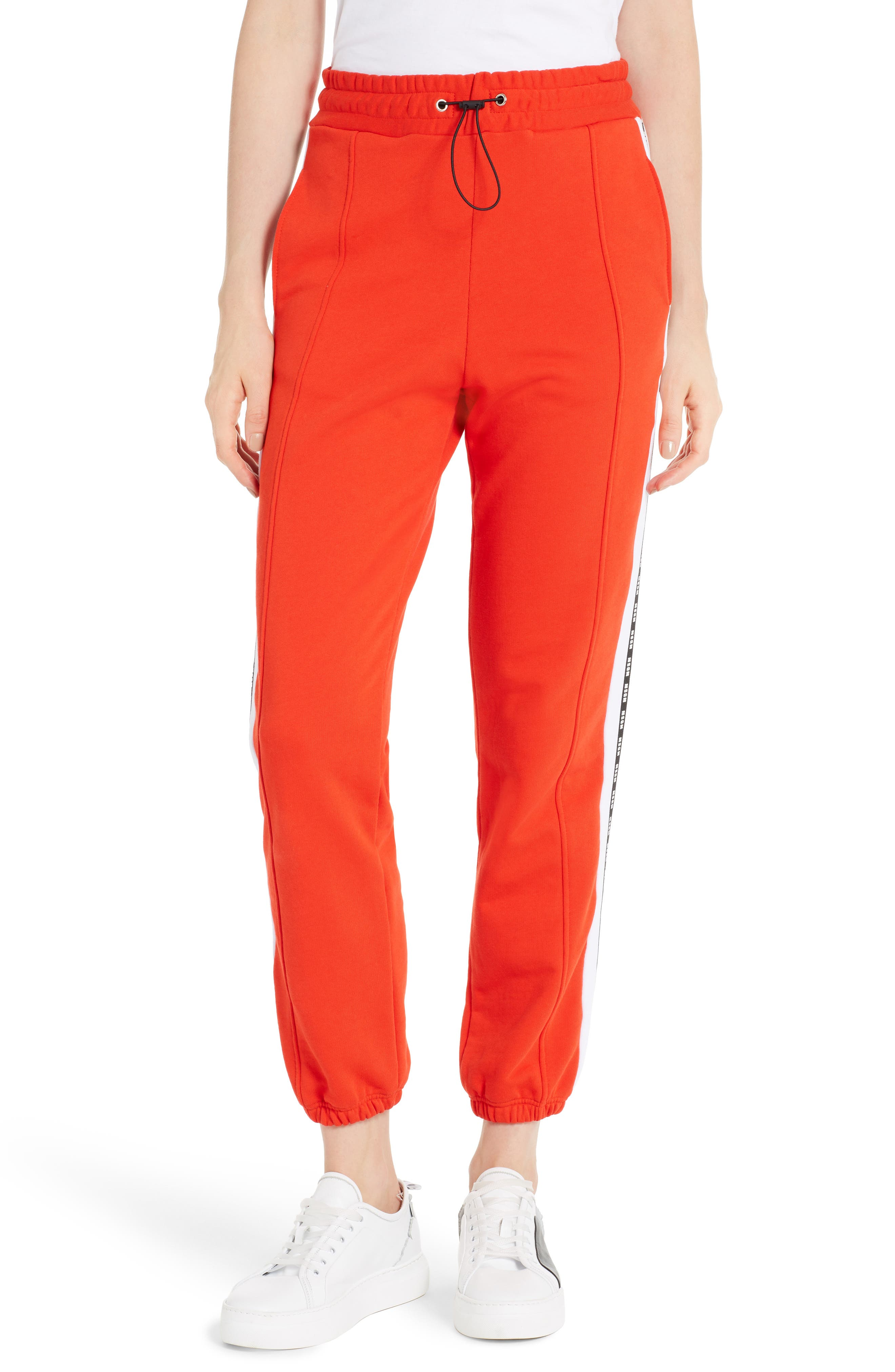 Logo Cotton Track Pants,                         Main,                         color, Red 18