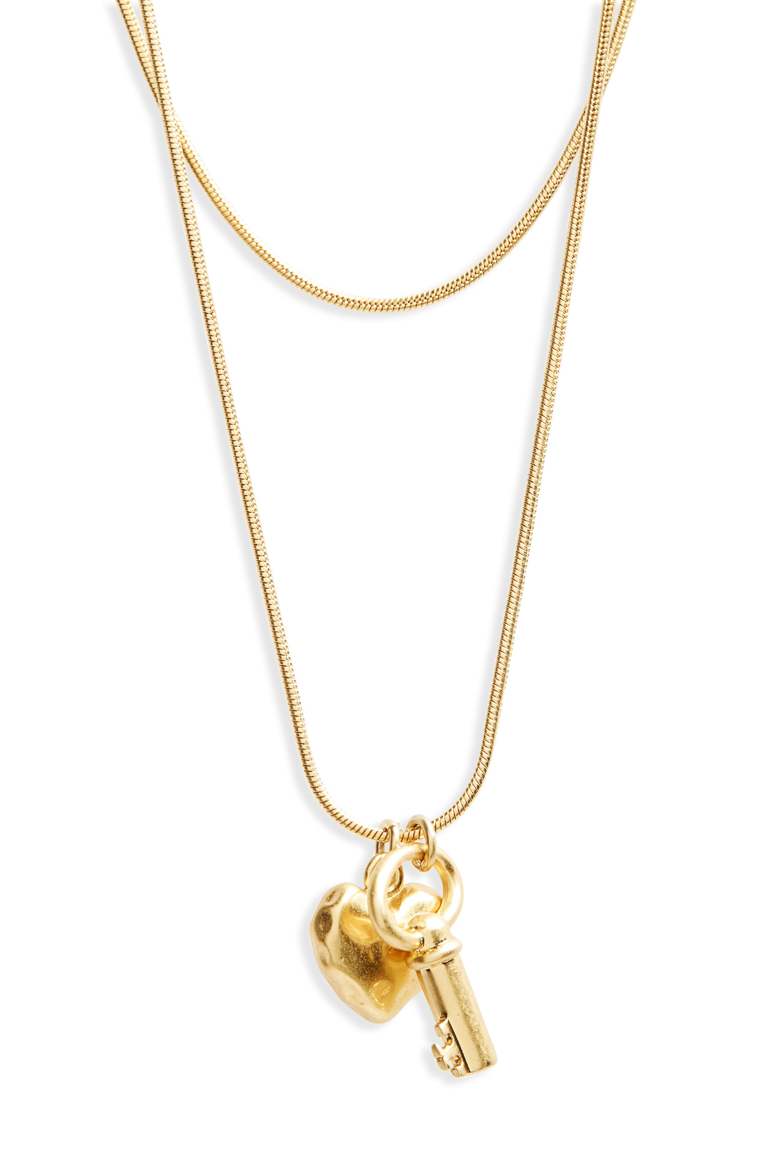 Key & Heart Charm Layered Pendant Necklace,                         Main,                         color, Vintage Gold