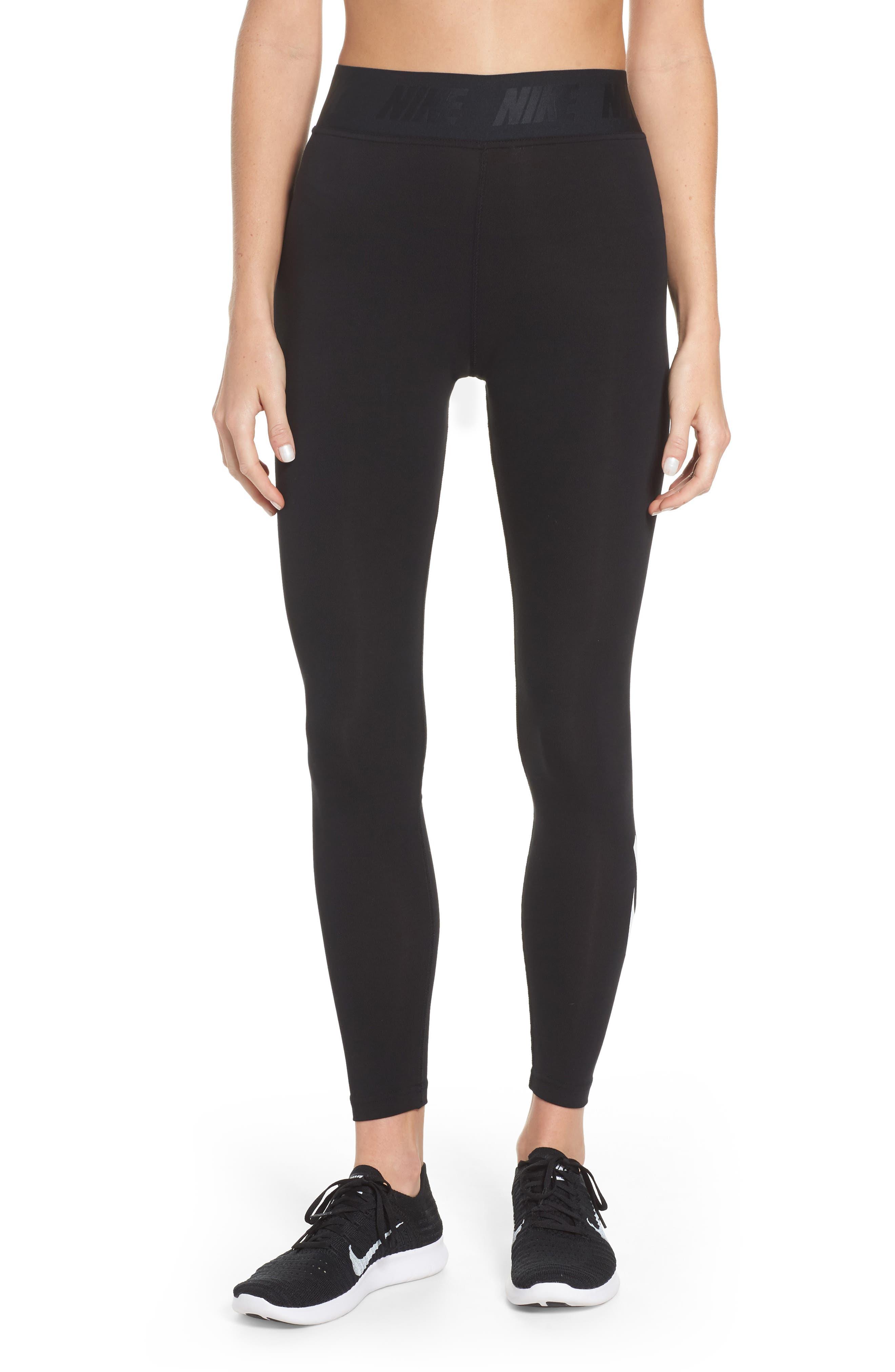 Leg-a-See High Waist Leggings,                         Main,                         color, Black/ White