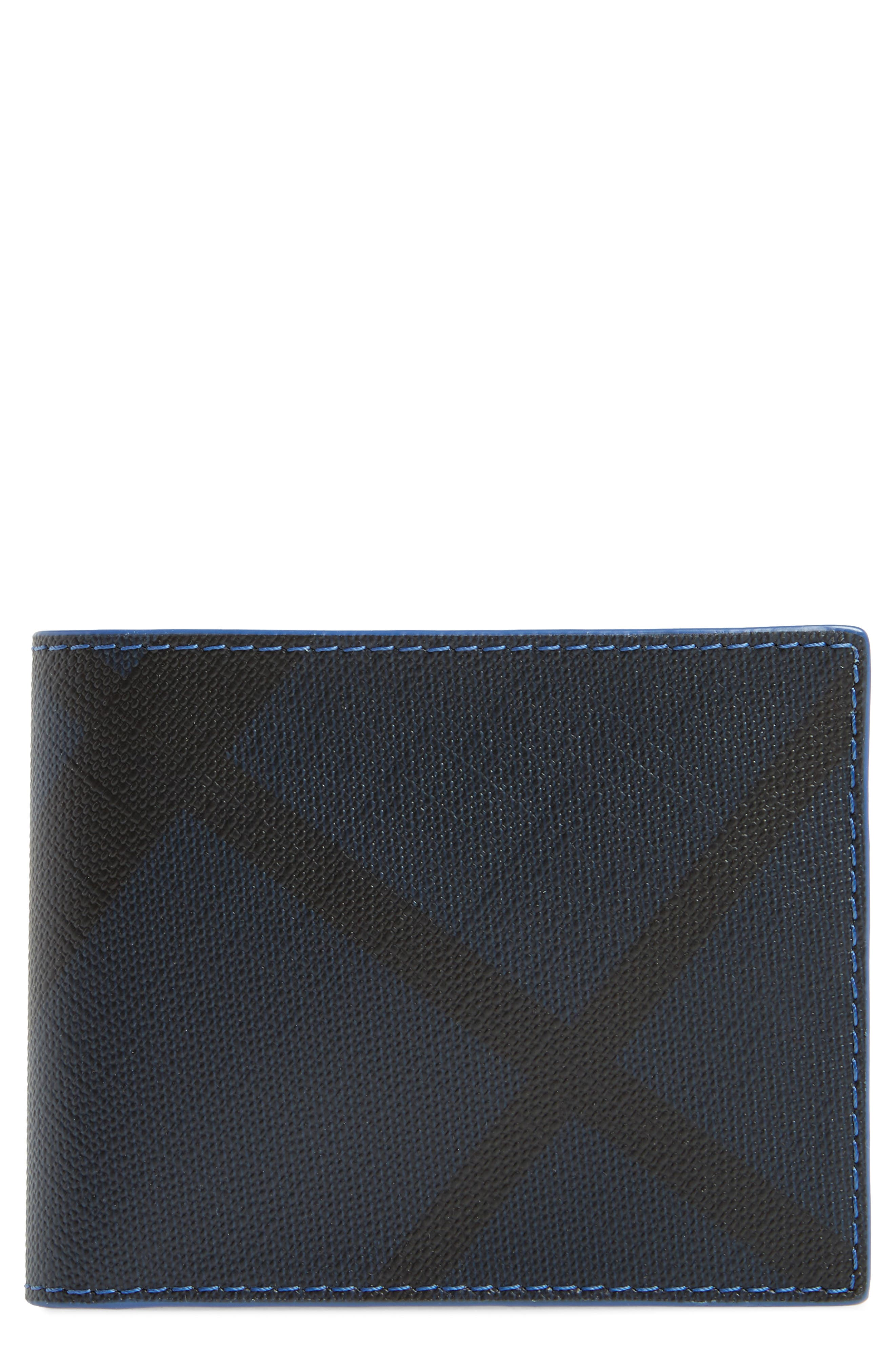 Check Faux Leather Wallet,                         Main,                         color, Navy/ Blue
