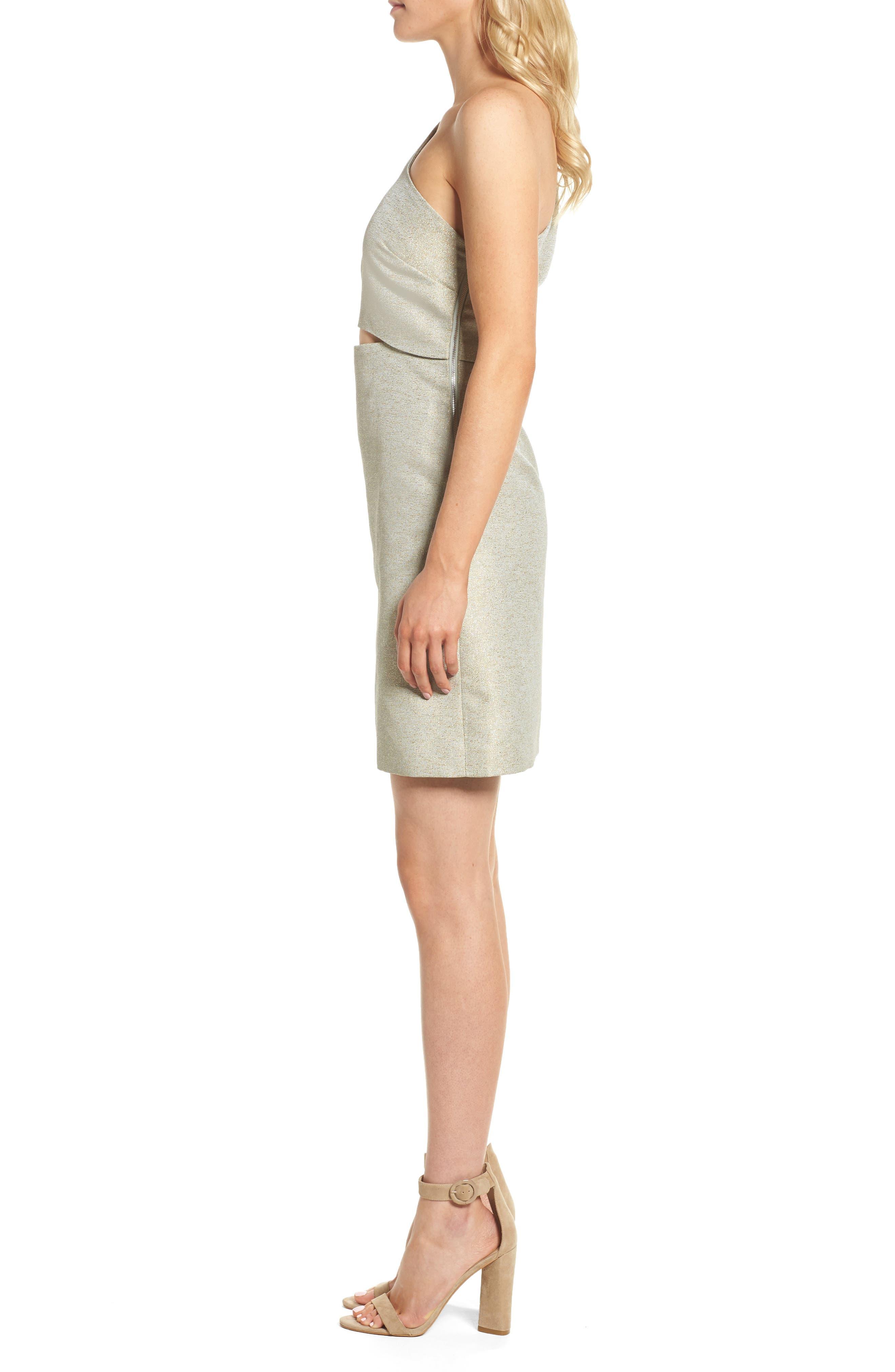 Valencia One-Shoulder Minidress,                             Alternate thumbnail 3, color,                             Sage