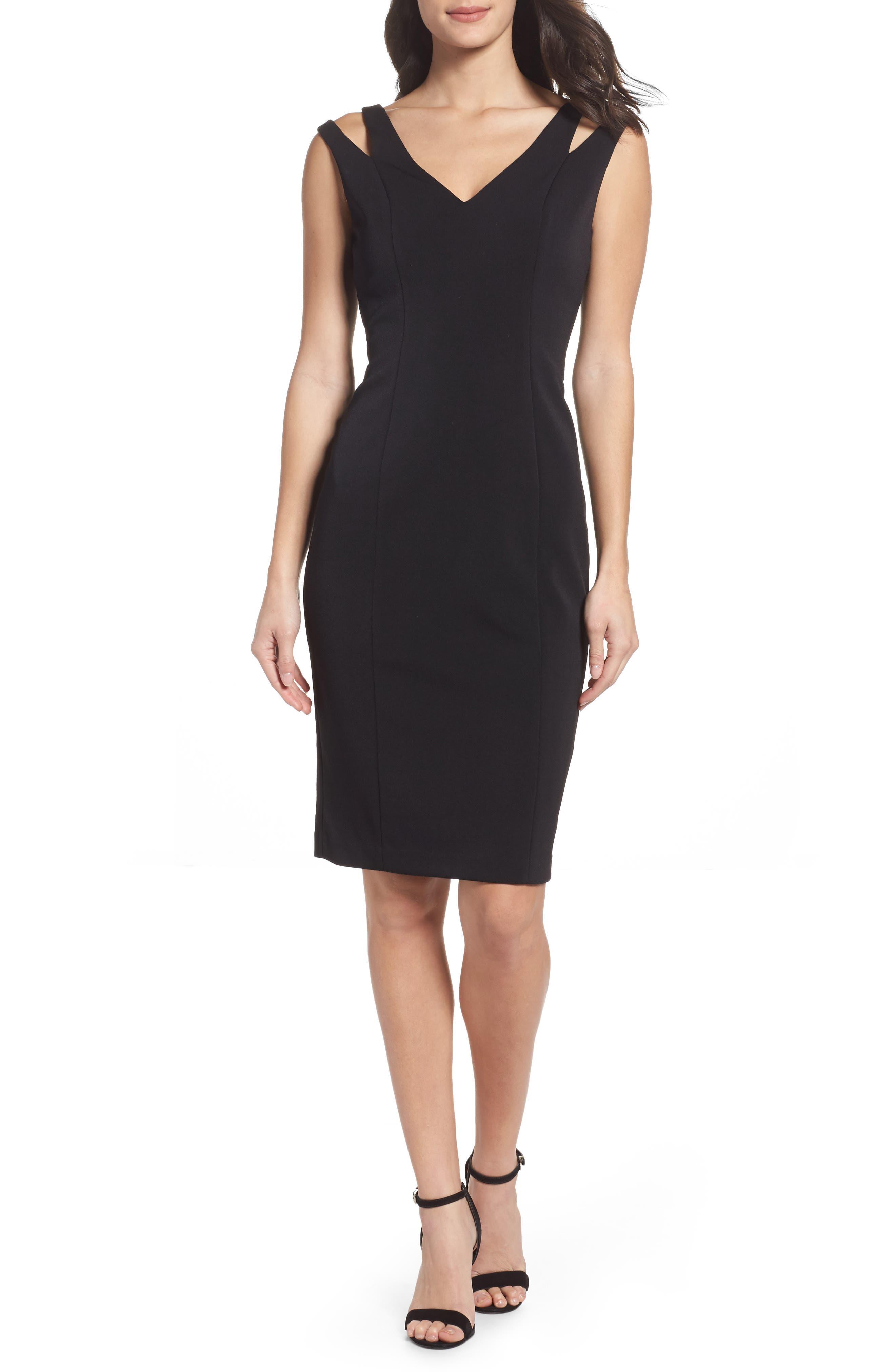 Cutout Shoulder Crepe Sheath Dress,                         Main,                         color, Black