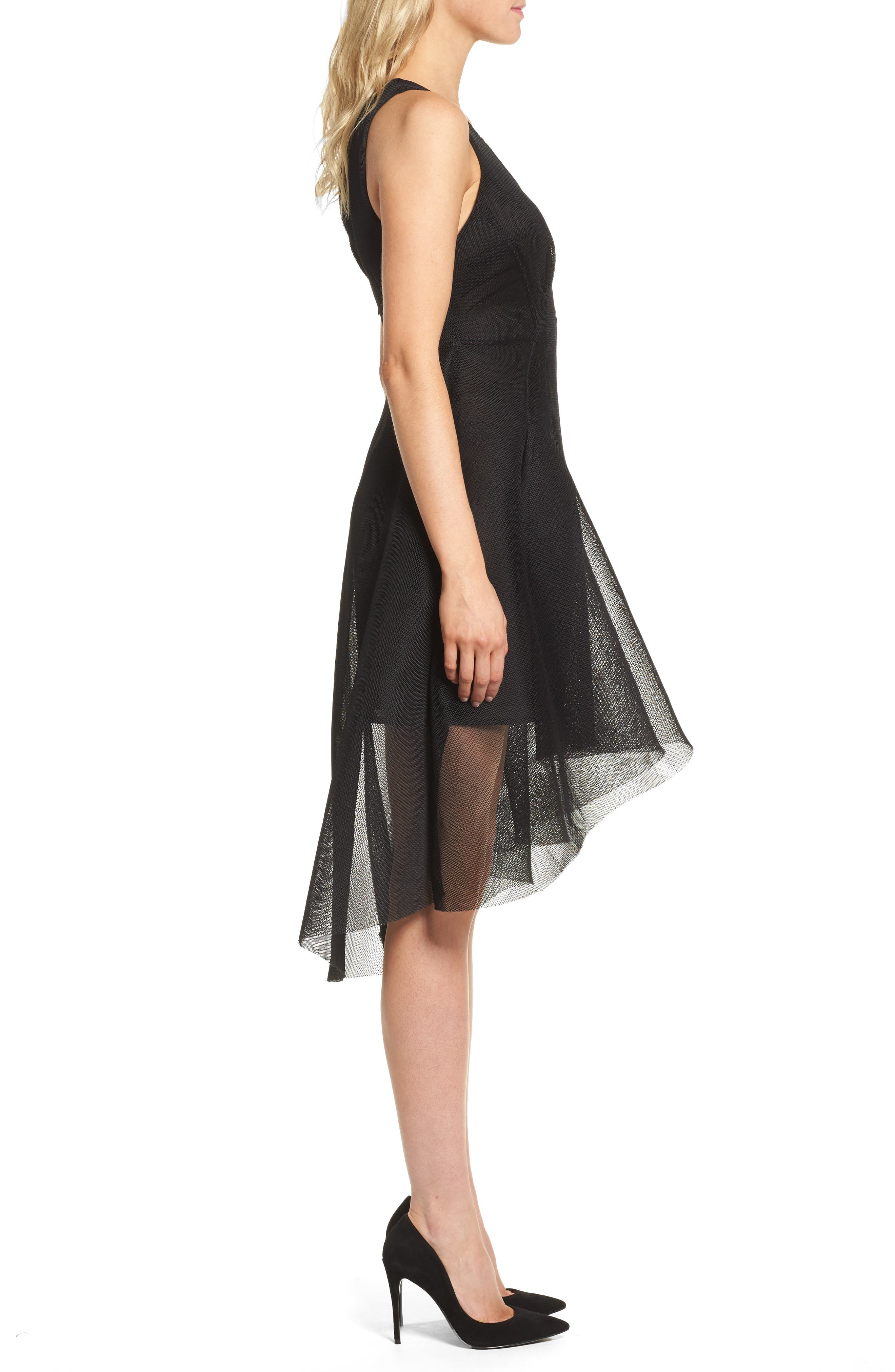 Jewel Fit & Flare Dress,                             Alternate thumbnail 3, color,                             Black