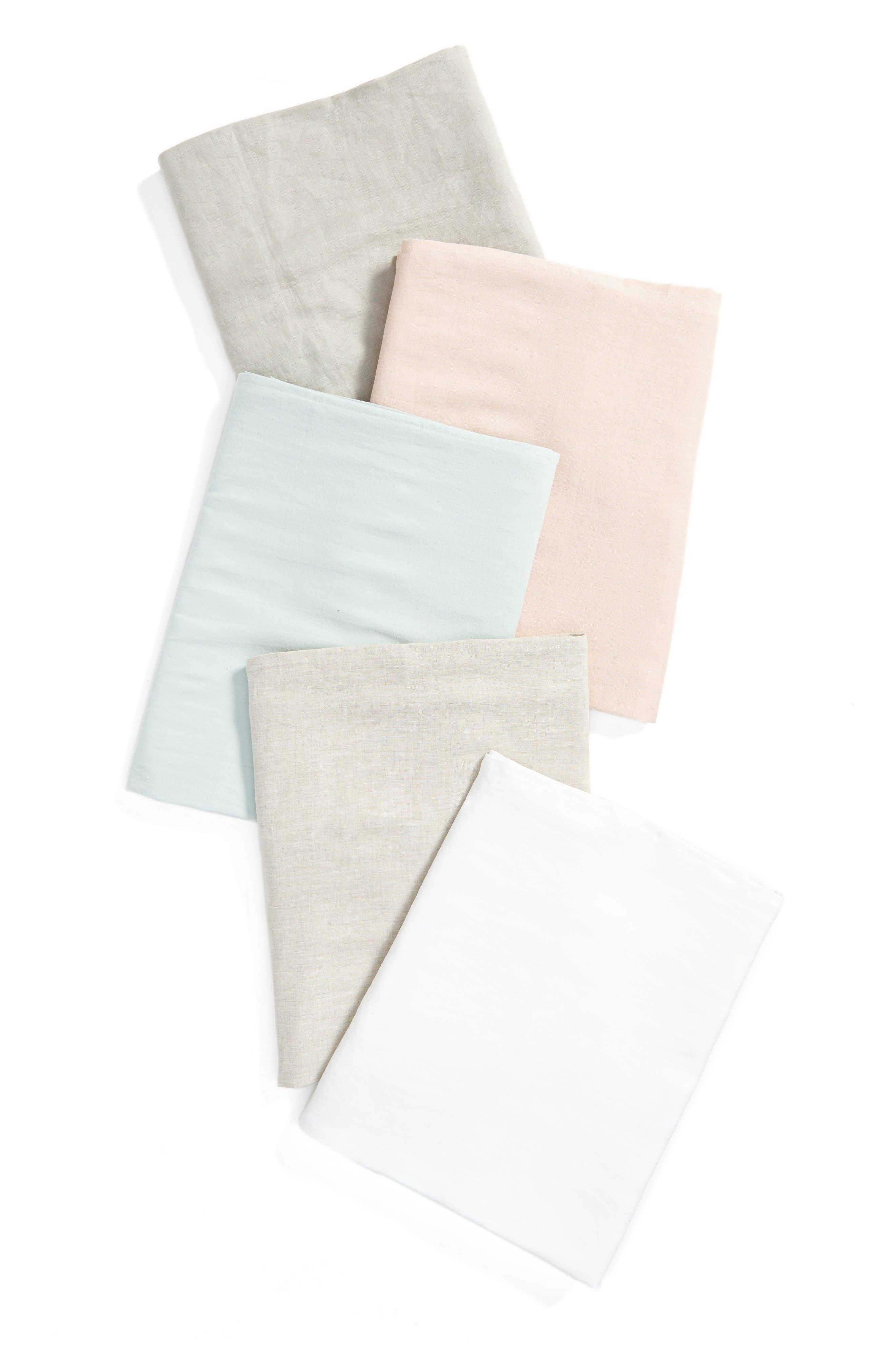 Round Linen Tablecloth,                             Alternate thumbnail 3, color,                             White