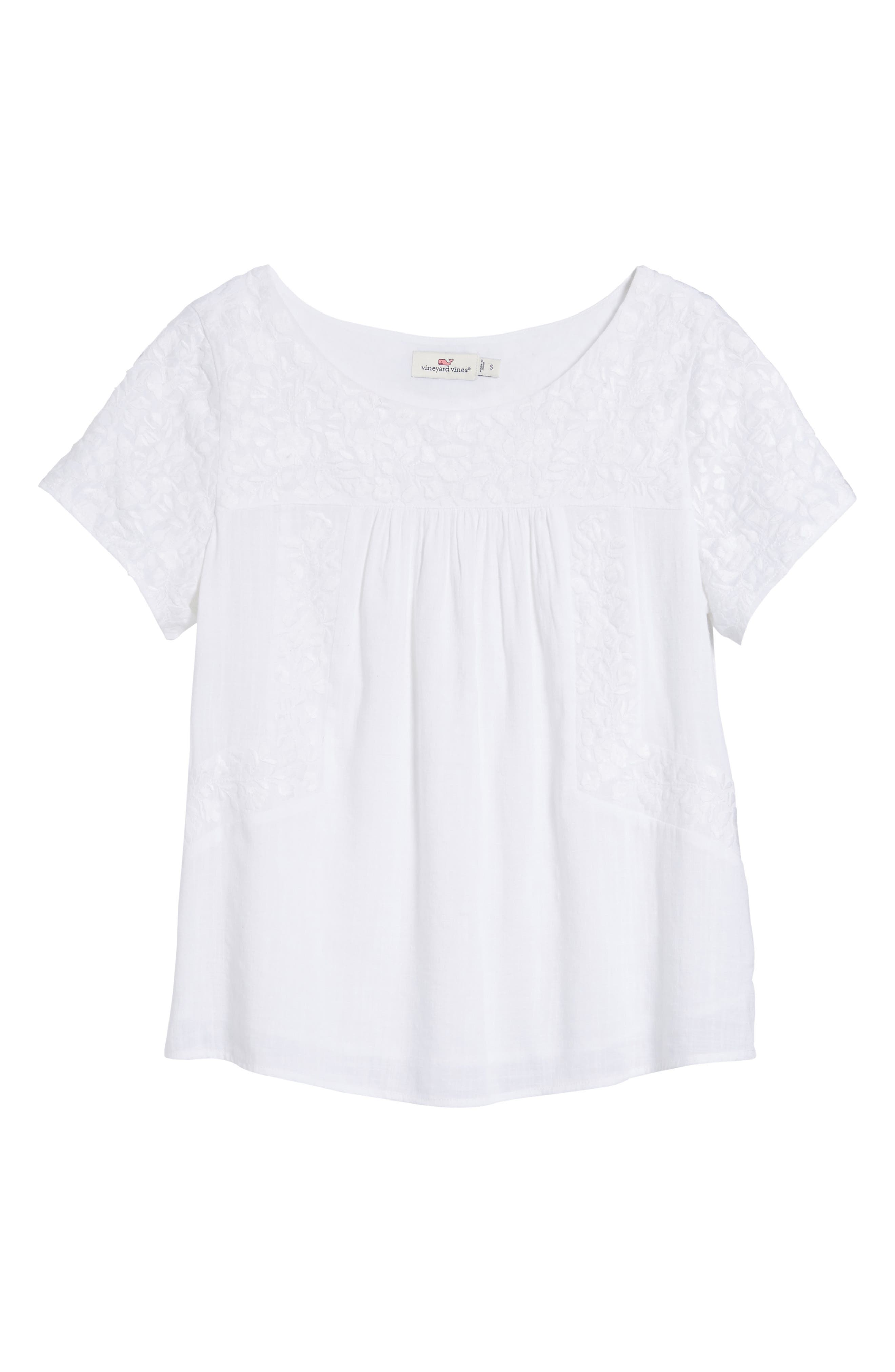 Monstera Linear Embroidered Top,                             Alternate thumbnail 6, color,                             White Cap