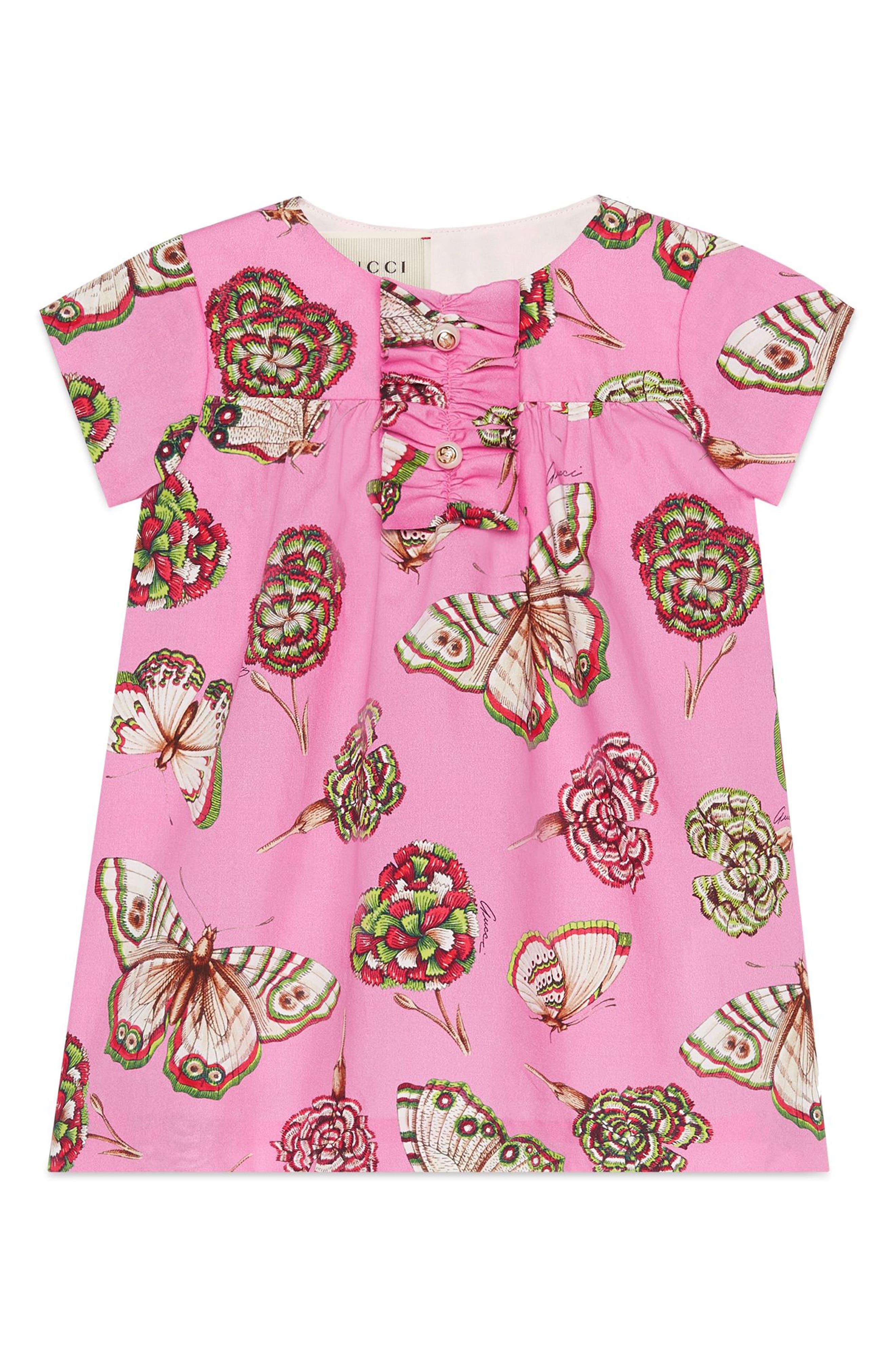 Butterfly Cotton Poplin Dress,                             Main thumbnail 1, color,                             Powder Rose