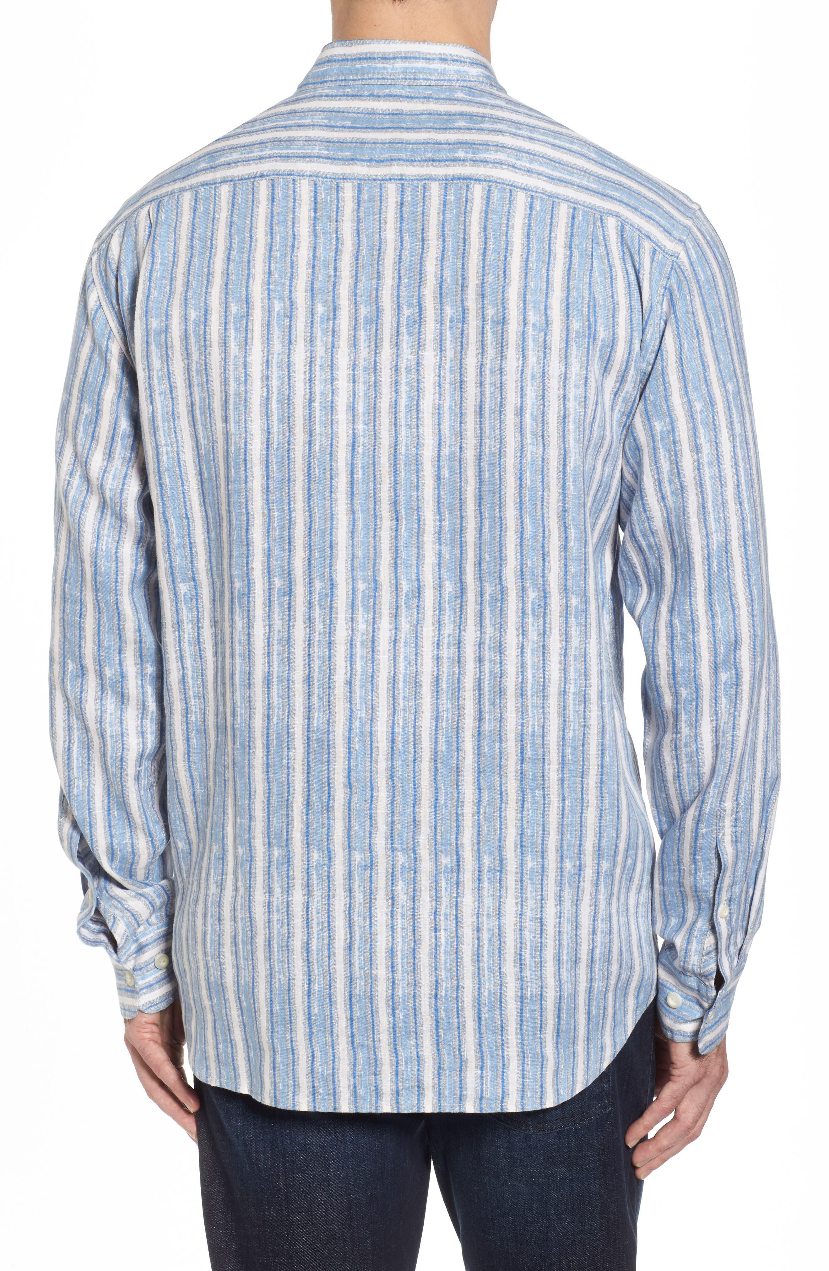 Along Shore Stripe Linen Sport Shirt,                             Alternate thumbnail 2, color,                             Fjord