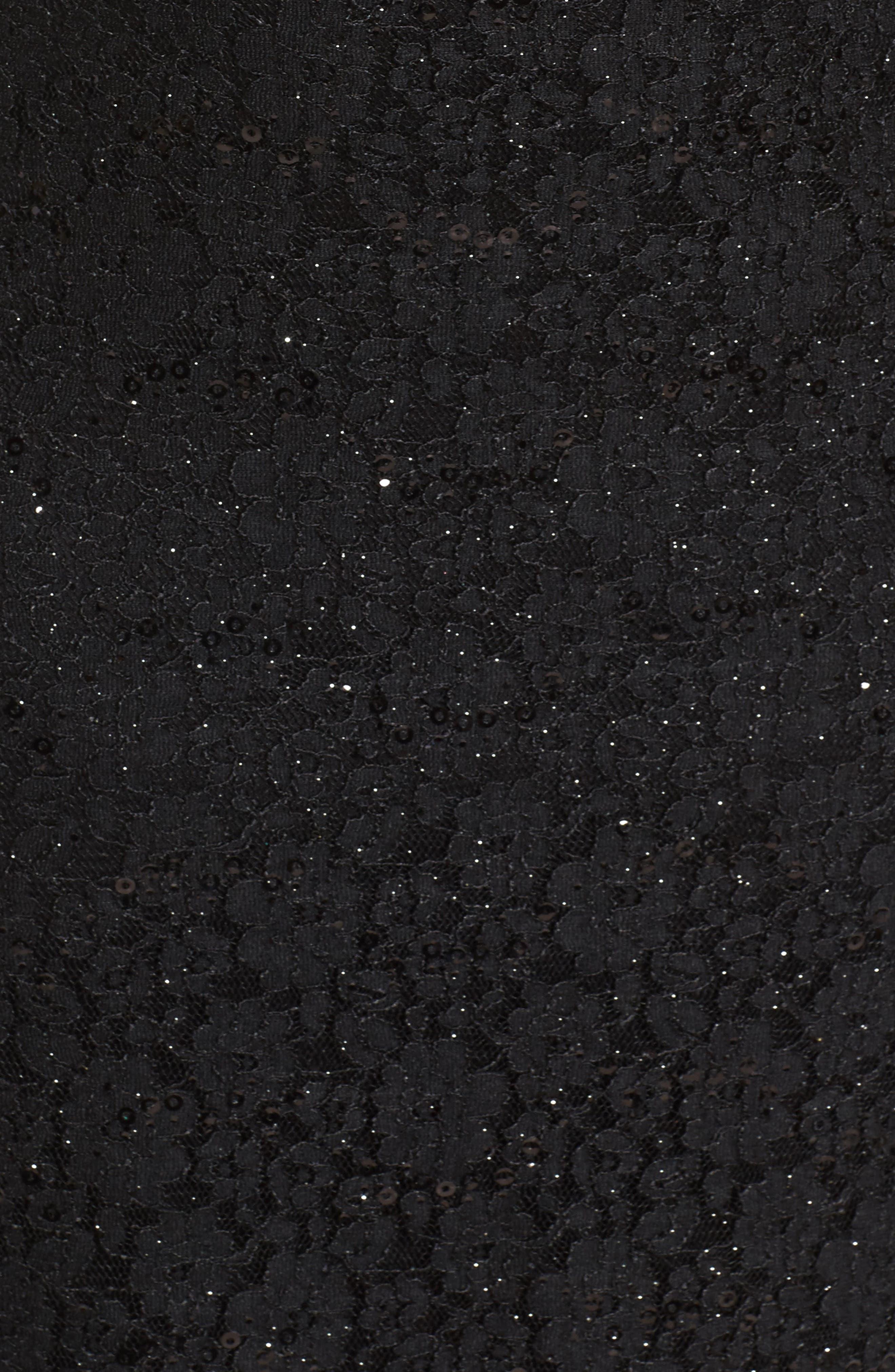 Sequin Lace & Mesh Body-Con Dress,                             Alternate thumbnail 5, color,                             Black