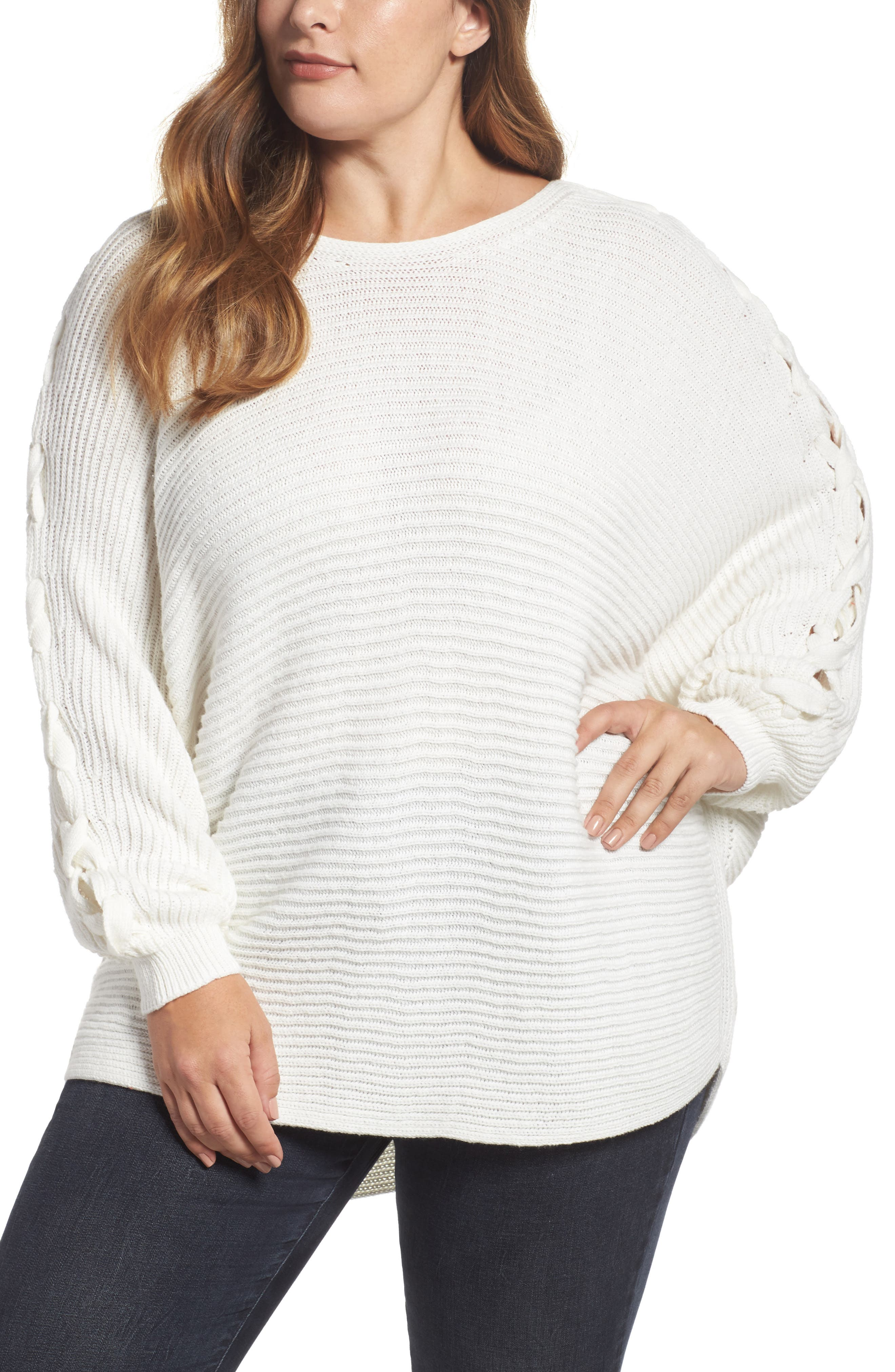 Lace-Up Sleeve Sweater,                             Main thumbnail 1, color,                             Ivory Cloud