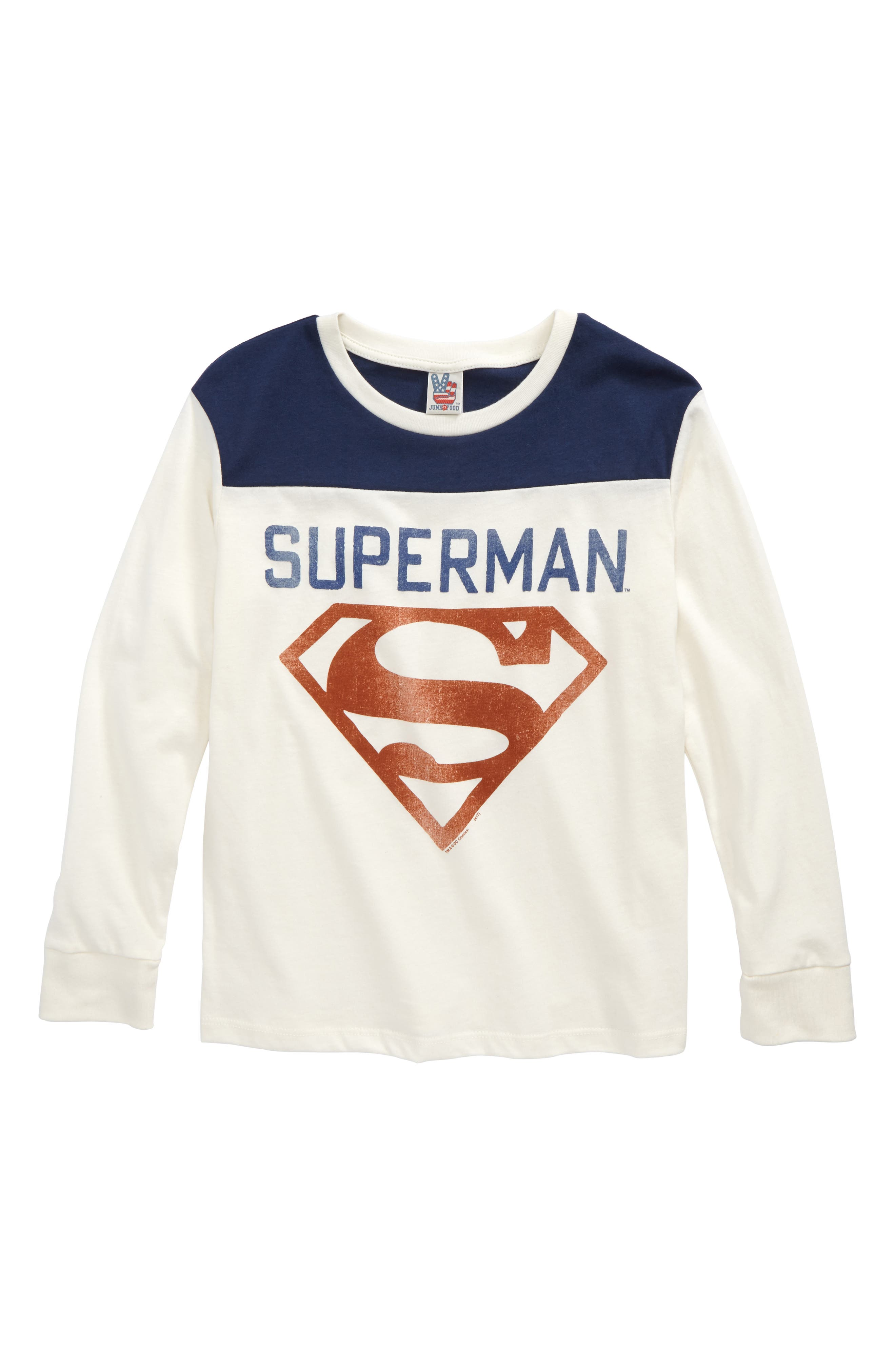 Superman Shield T-Shirt,                         Main,                         color, Ivory/ True Navy