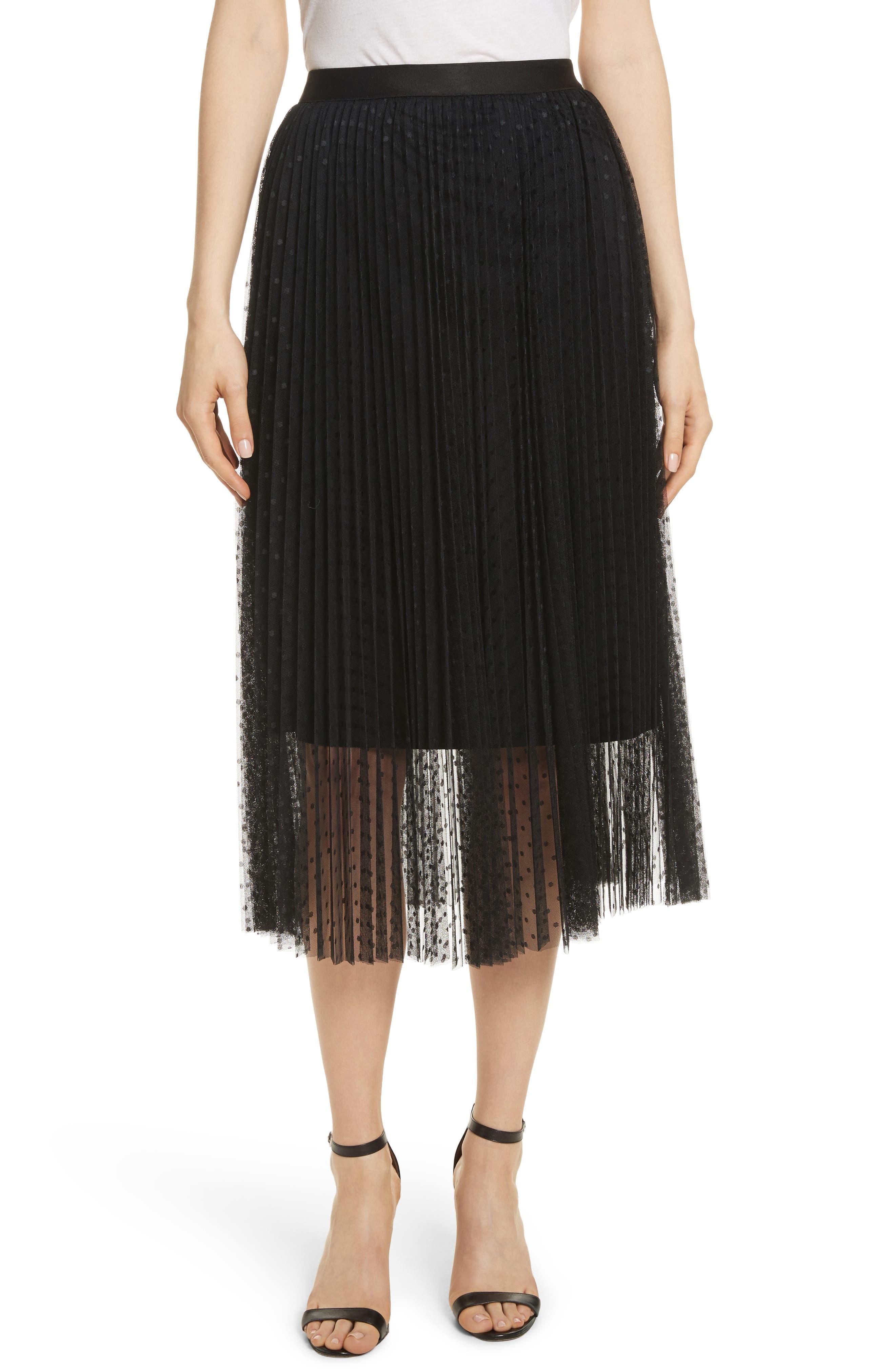 Pleated Polka Dot Mesh Midi Skirt,                         Main,                         color, Black