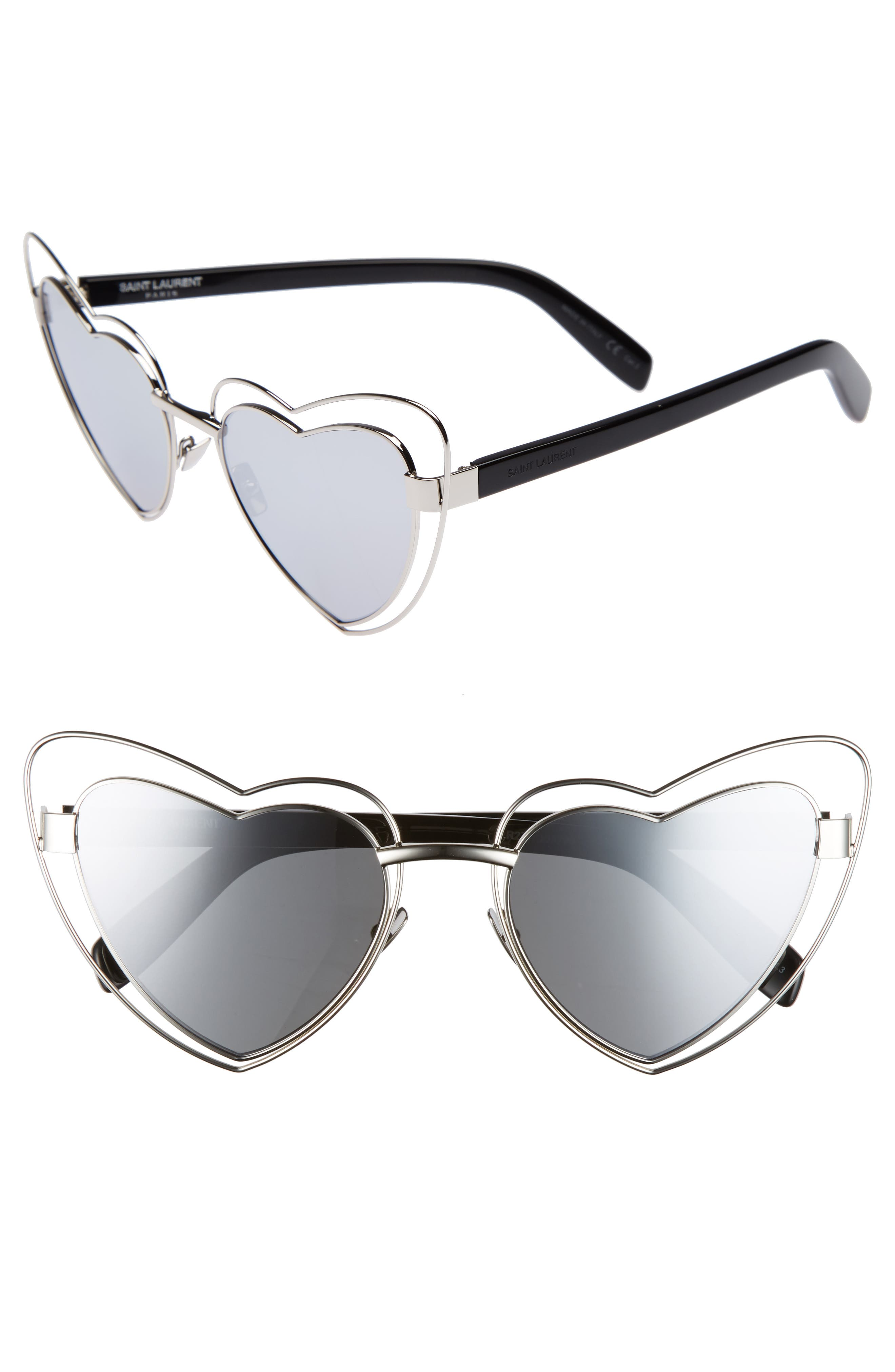 SL197 Loulou 57mm Heart Shaped Sunglasses,                         Main,                         color, Silver