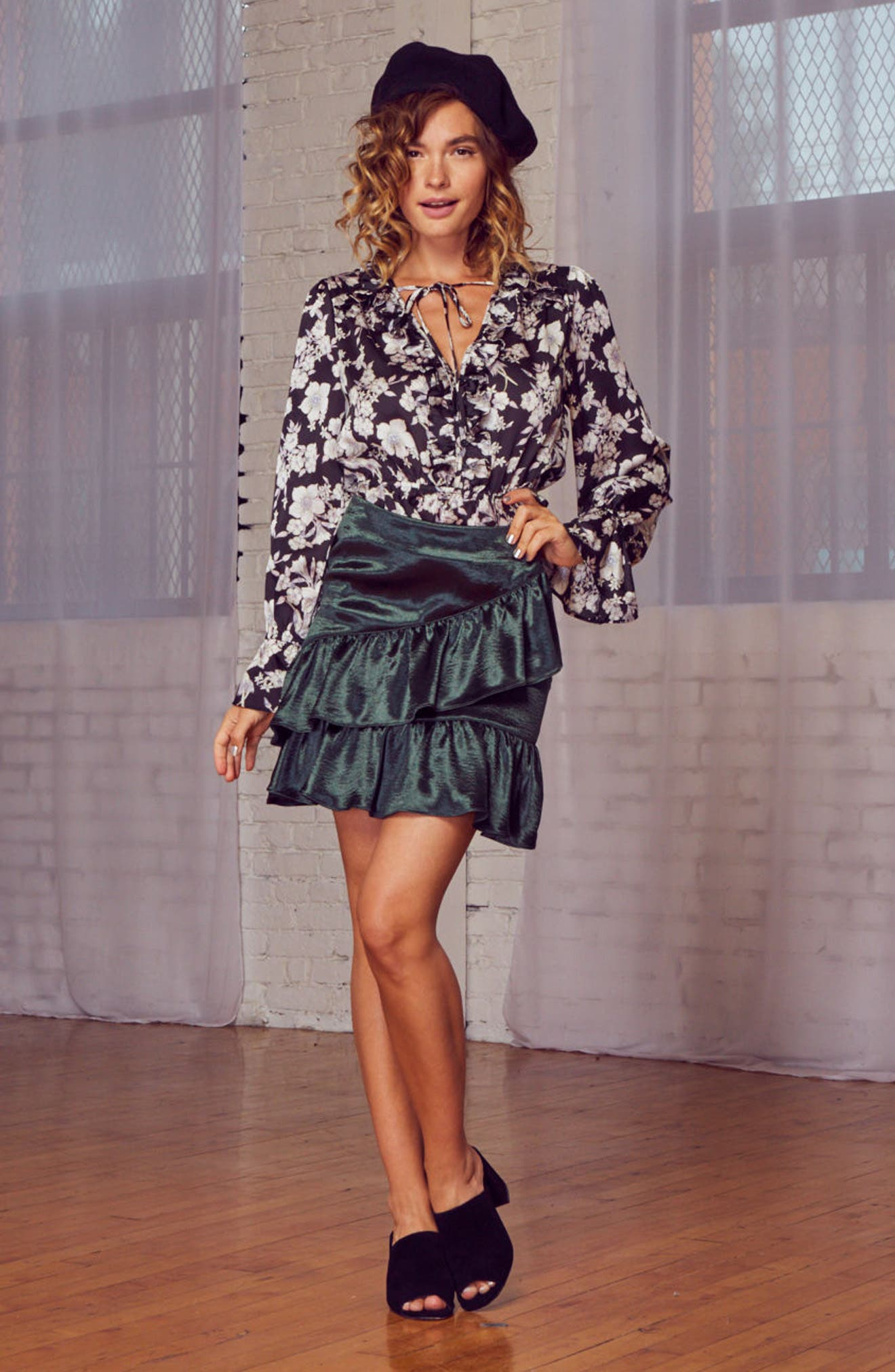 Alternate Image 7  - Lost + Wander Jameson Ruffle Satin Skirt