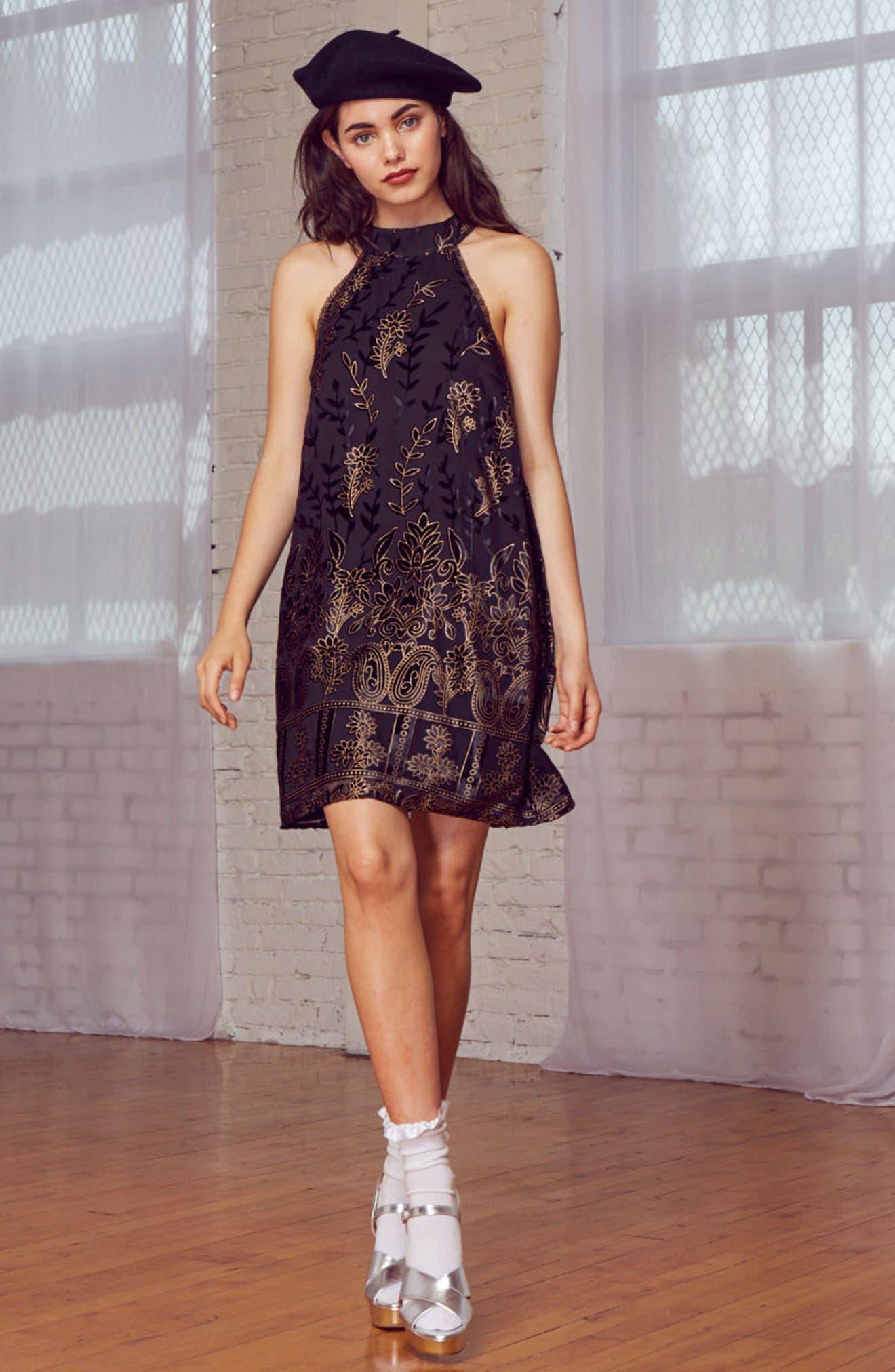 Merci Halter Dress,                             Alternate thumbnail 7, color,                             Black