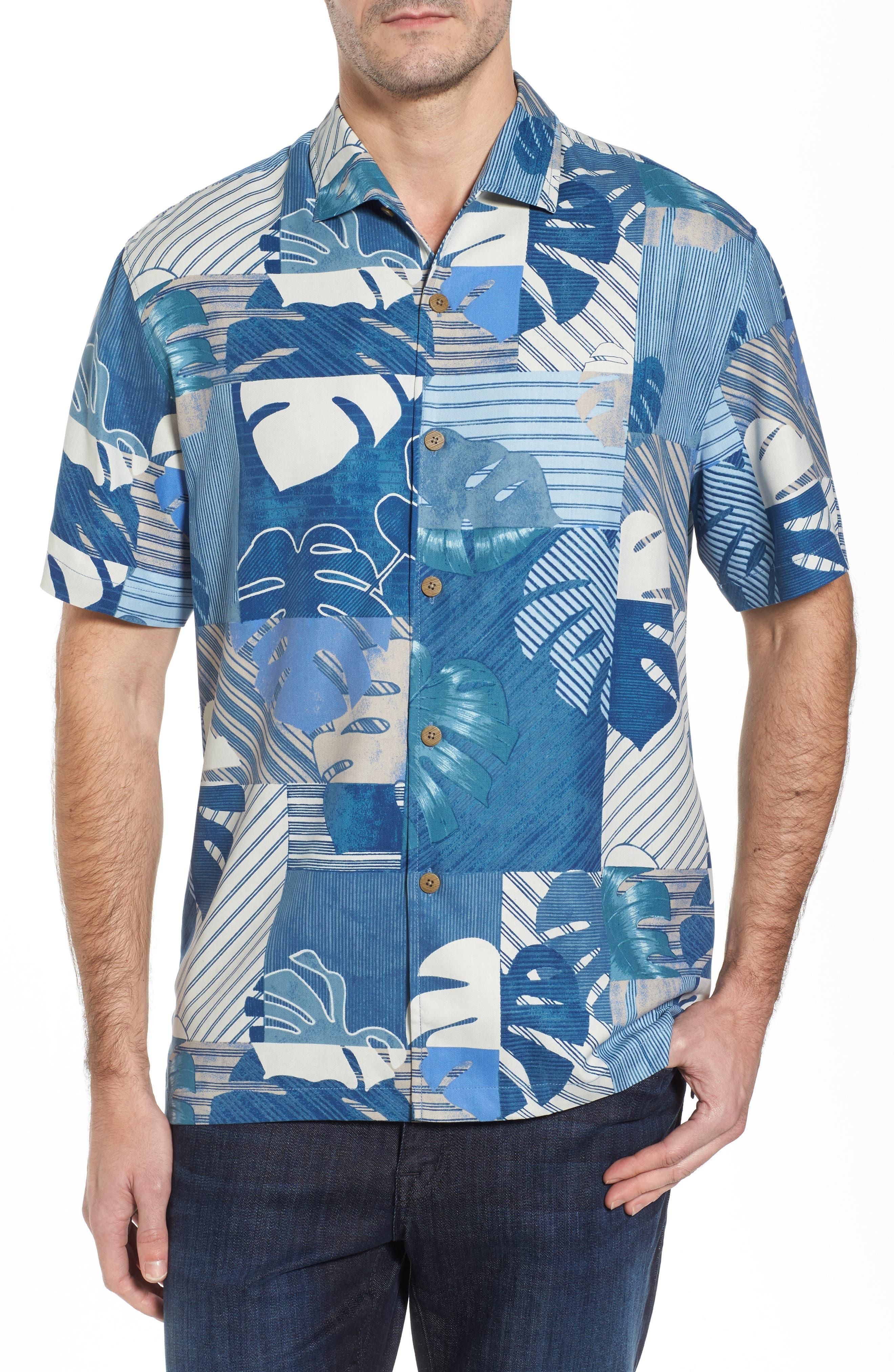 Totally Tiled Silk Camp Shirt,                         Main,                         color, Bering Blue