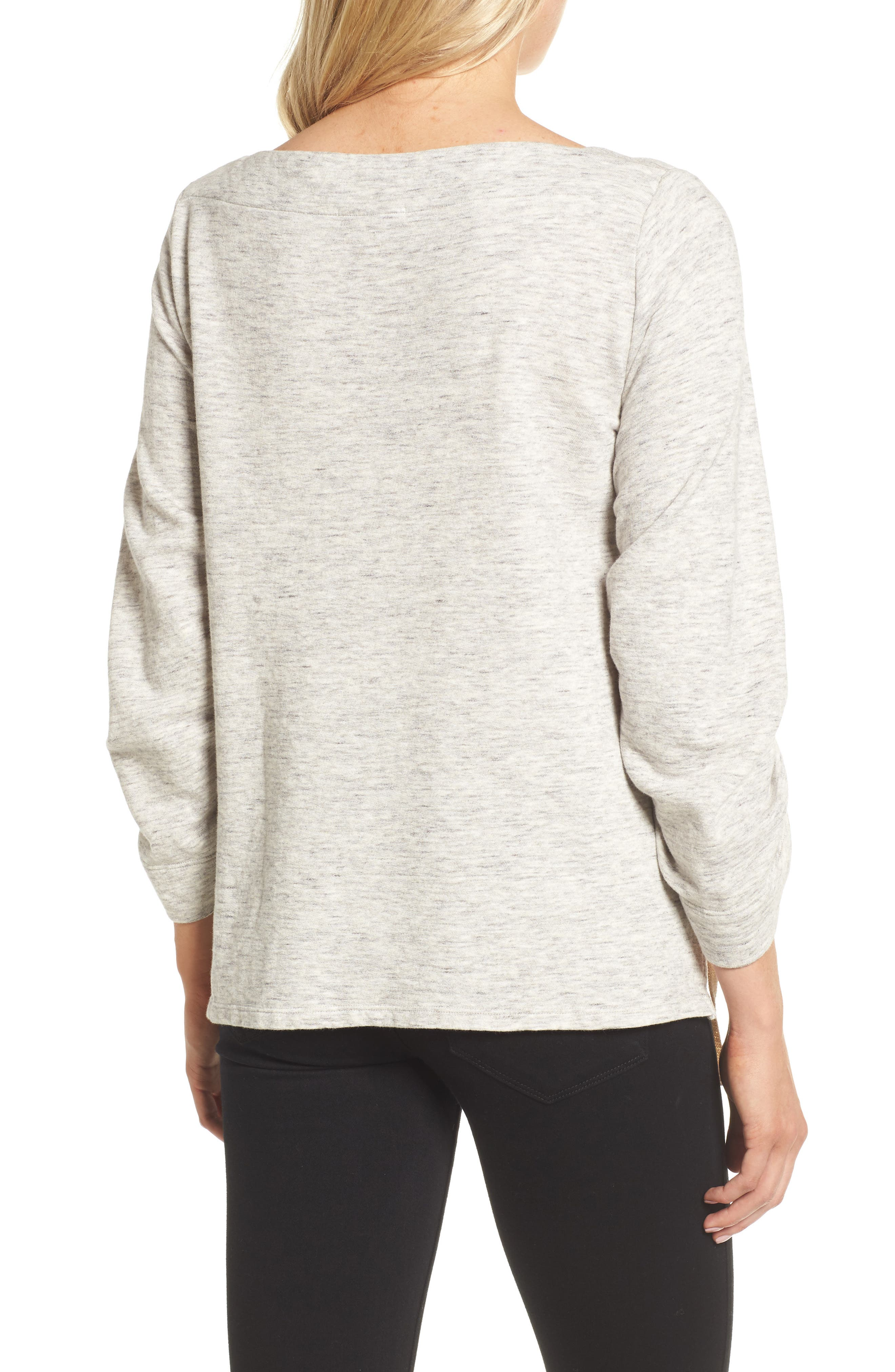 Ruched Sleeve Sweatshirt,                             Alternate thumbnail 2, color,                             Heather Grey