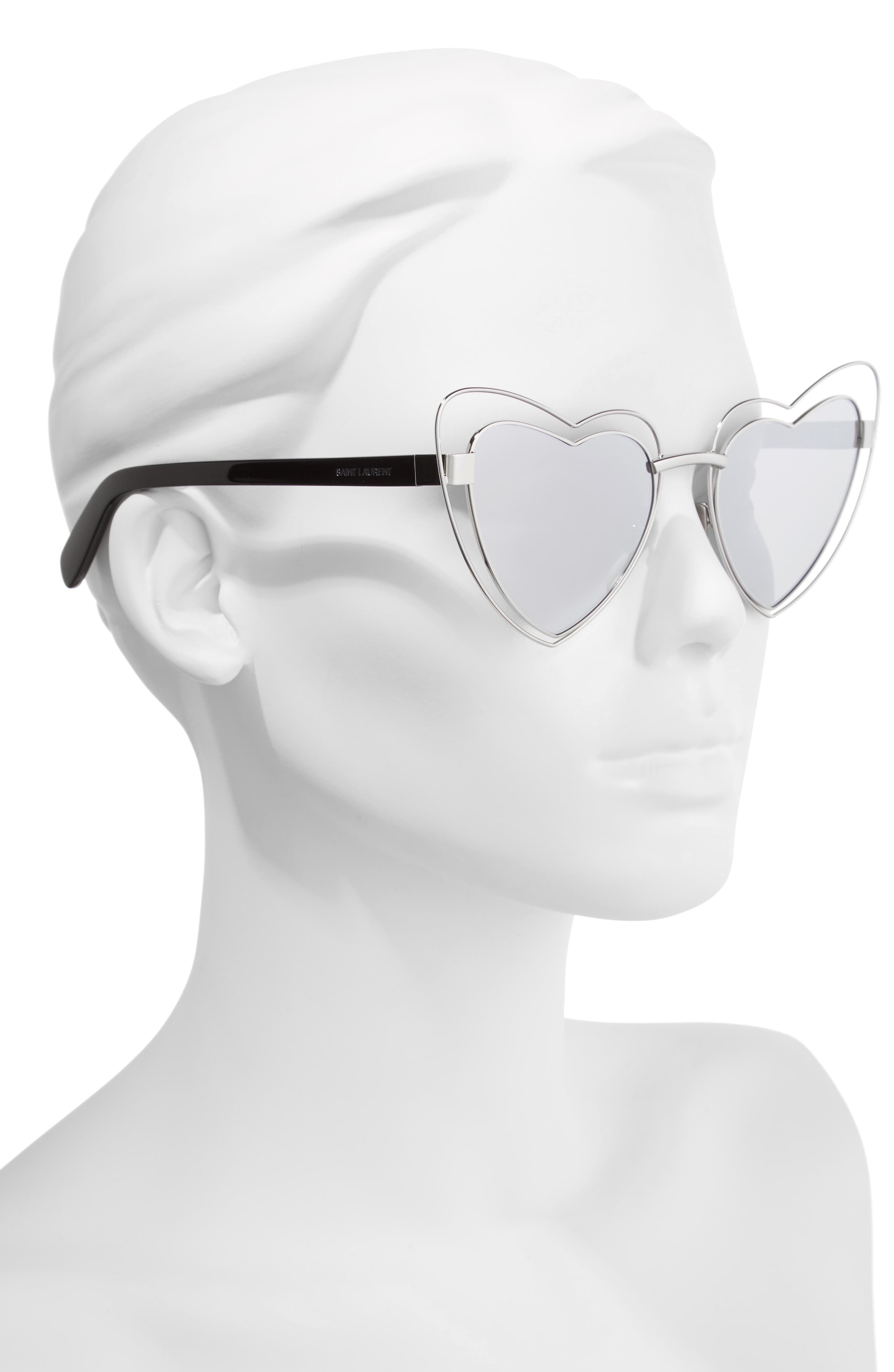 SL197 Loulou 57mm Heart Shaped Sunglasses,                             Alternate thumbnail 2, color,                             Silver