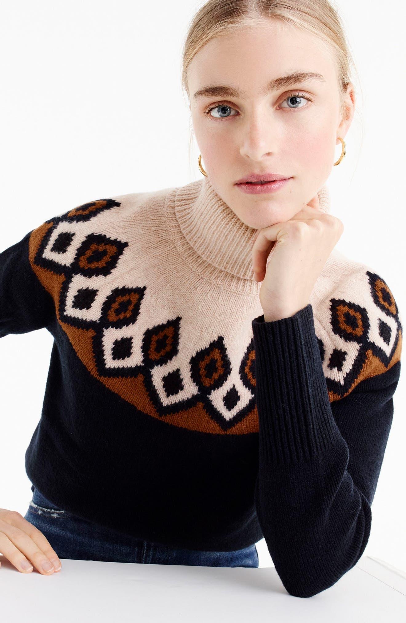 Ambrose Fair Isle Merino Wool Sweater,                             Alternate thumbnail 2, color,                             Navy/ Peach
