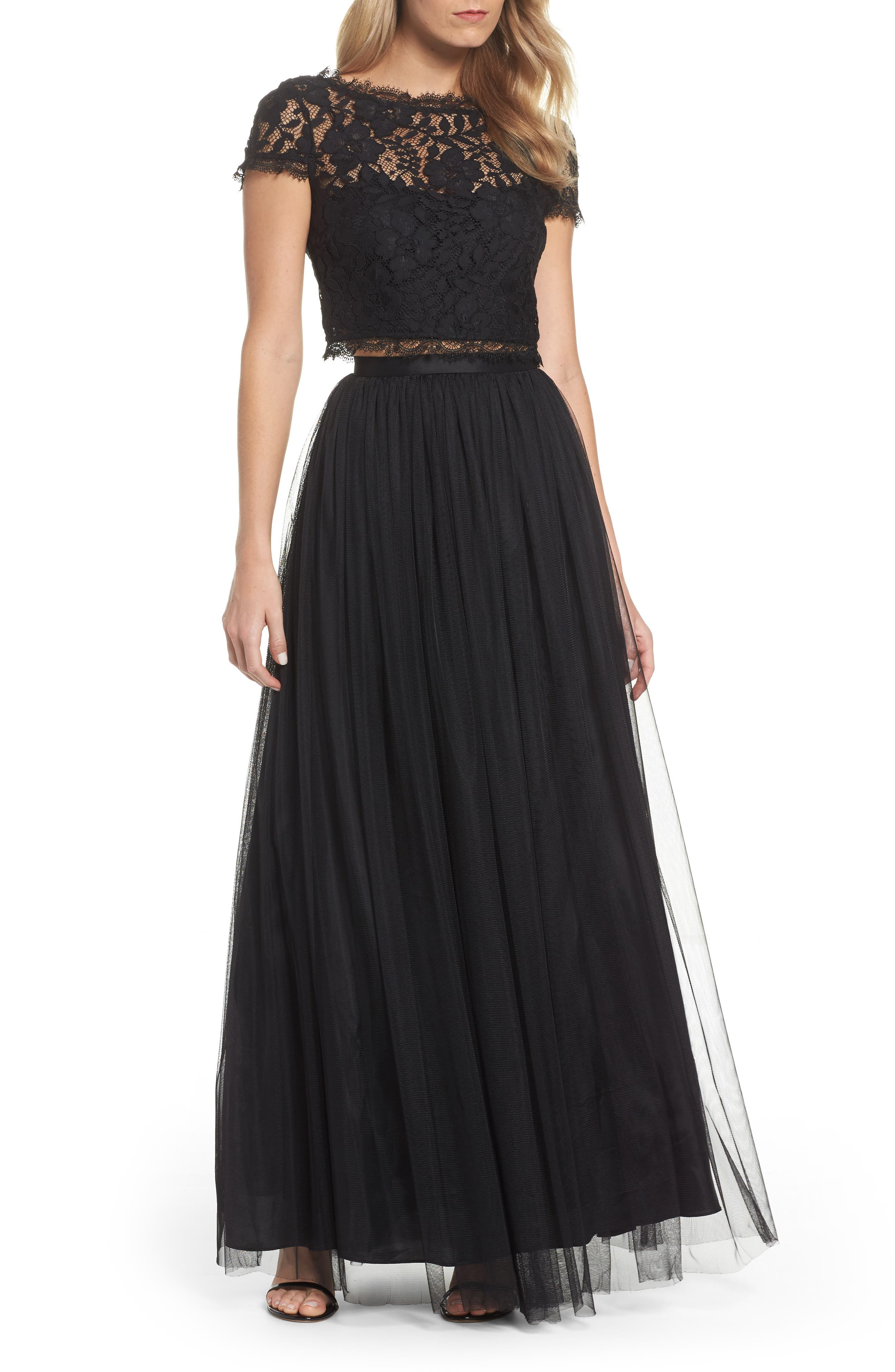 Lace and Tulle Two-Piece Dress,                         Main,                         color, Black