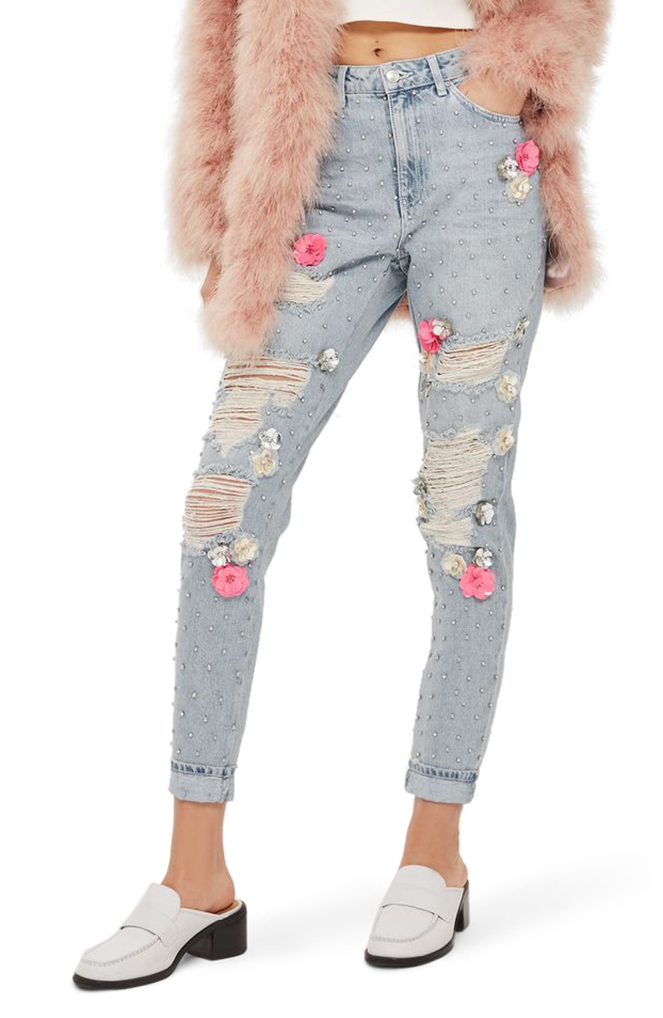 Topshop Bleach Floral Diamante Malibu Mom Jeans