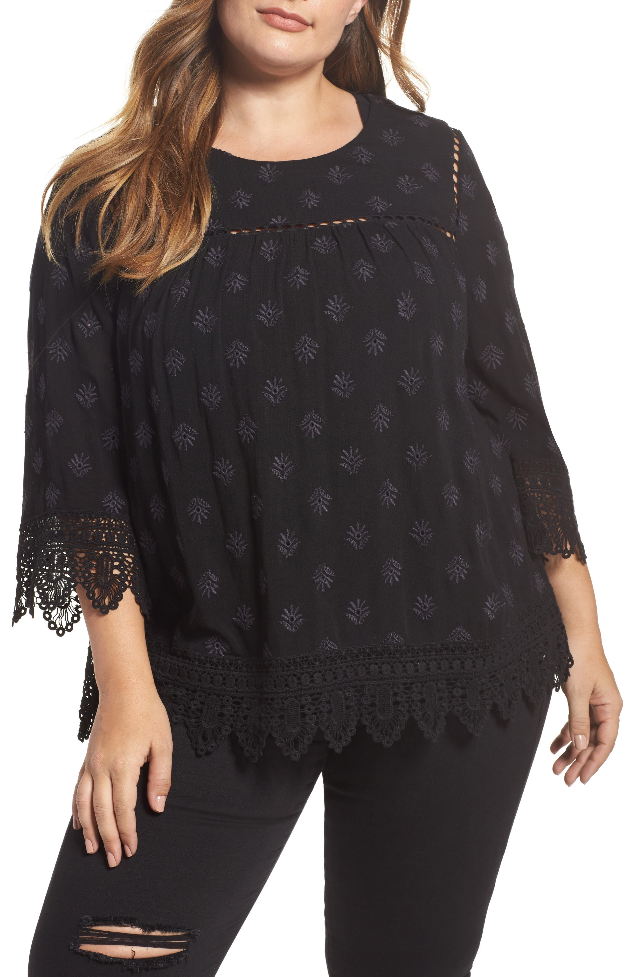 Main Image - Daniel Rainn Eyelet Embroidered Gauze Blouse (Plus Size)