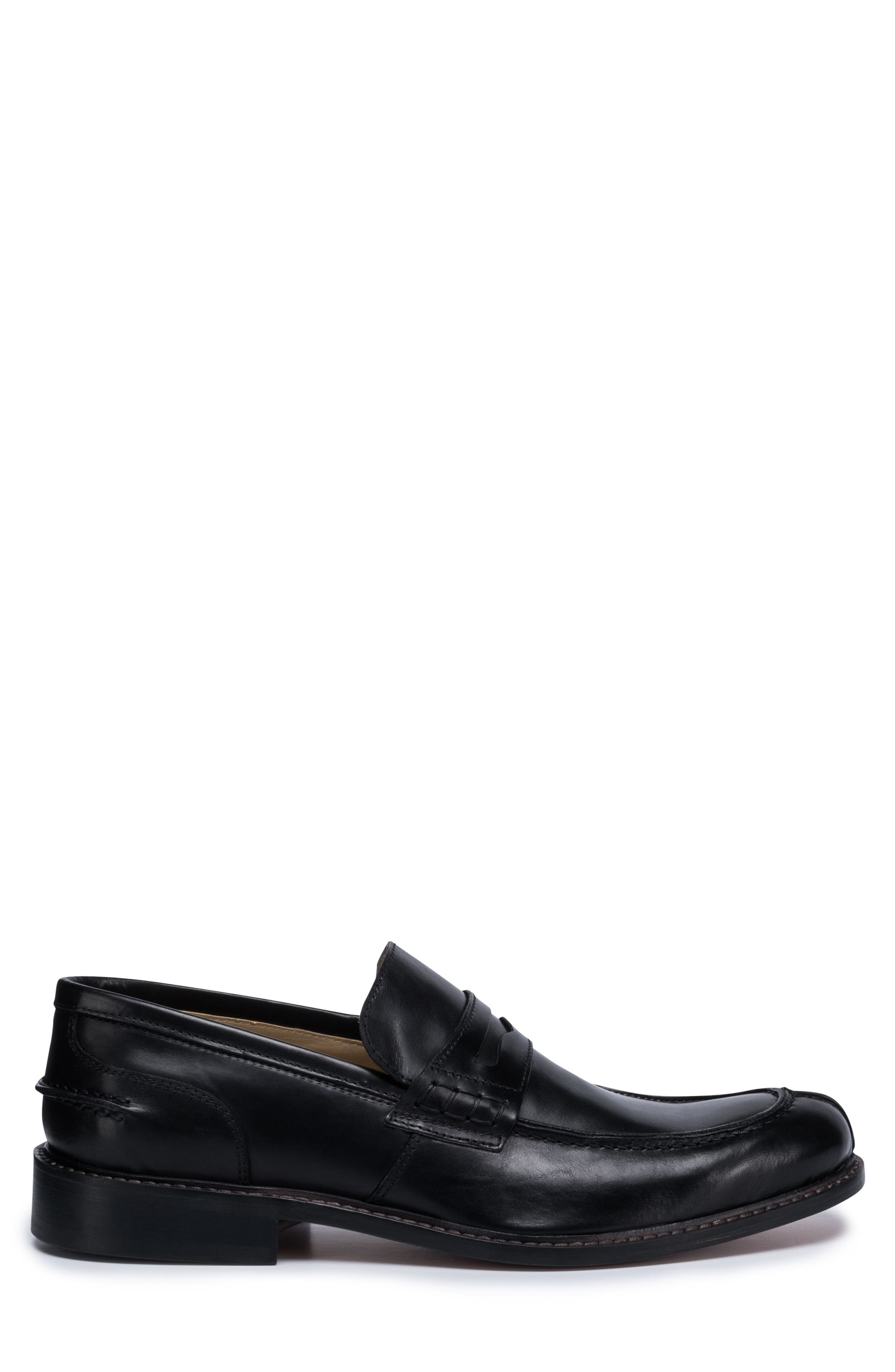 Apron Toe Penny Loafer,                             Alternate thumbnail 3, color,                             Nero Leather