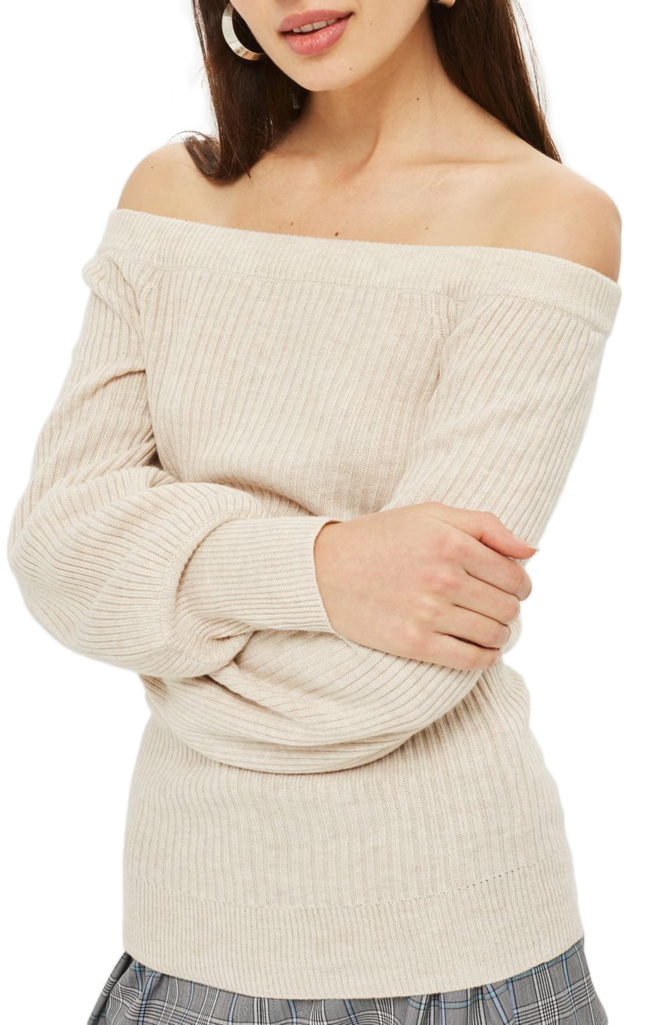 Off the Shoulder Sweater,                         Main,                         color, Oatmeal