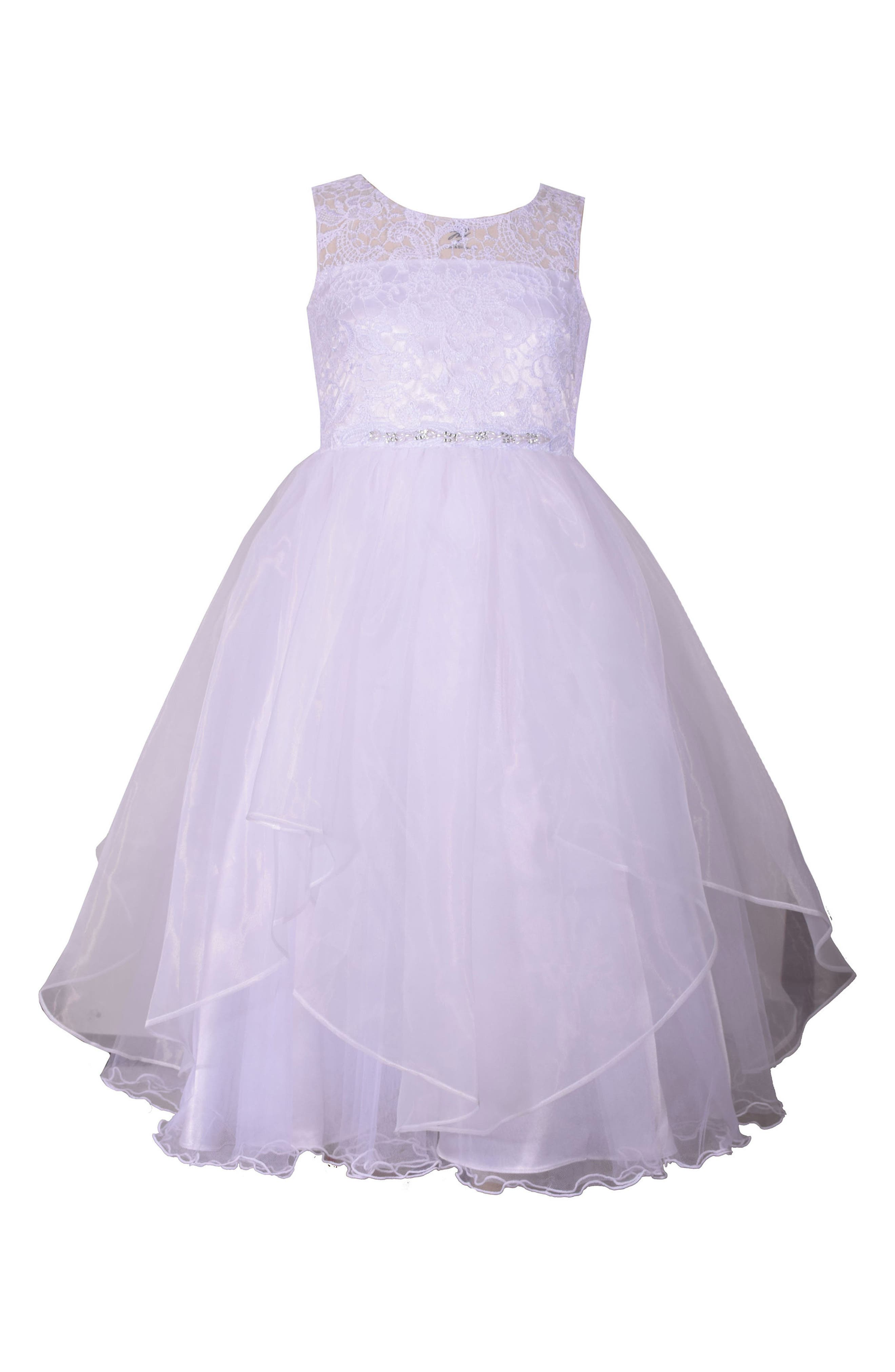 Lace Bodice First Communion Dress,                         Main,                         color, White