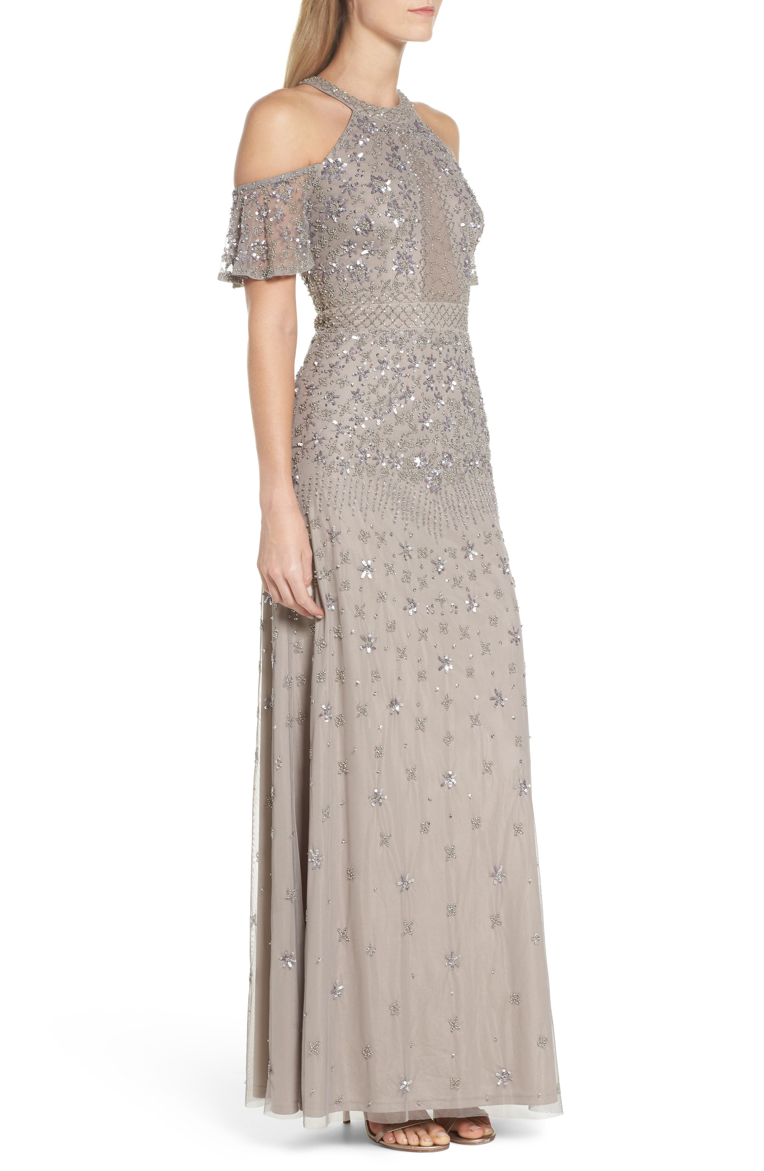Beaded Cold Shoulder Gown,                             Alternate thumbnail 3, color,                             Platinum