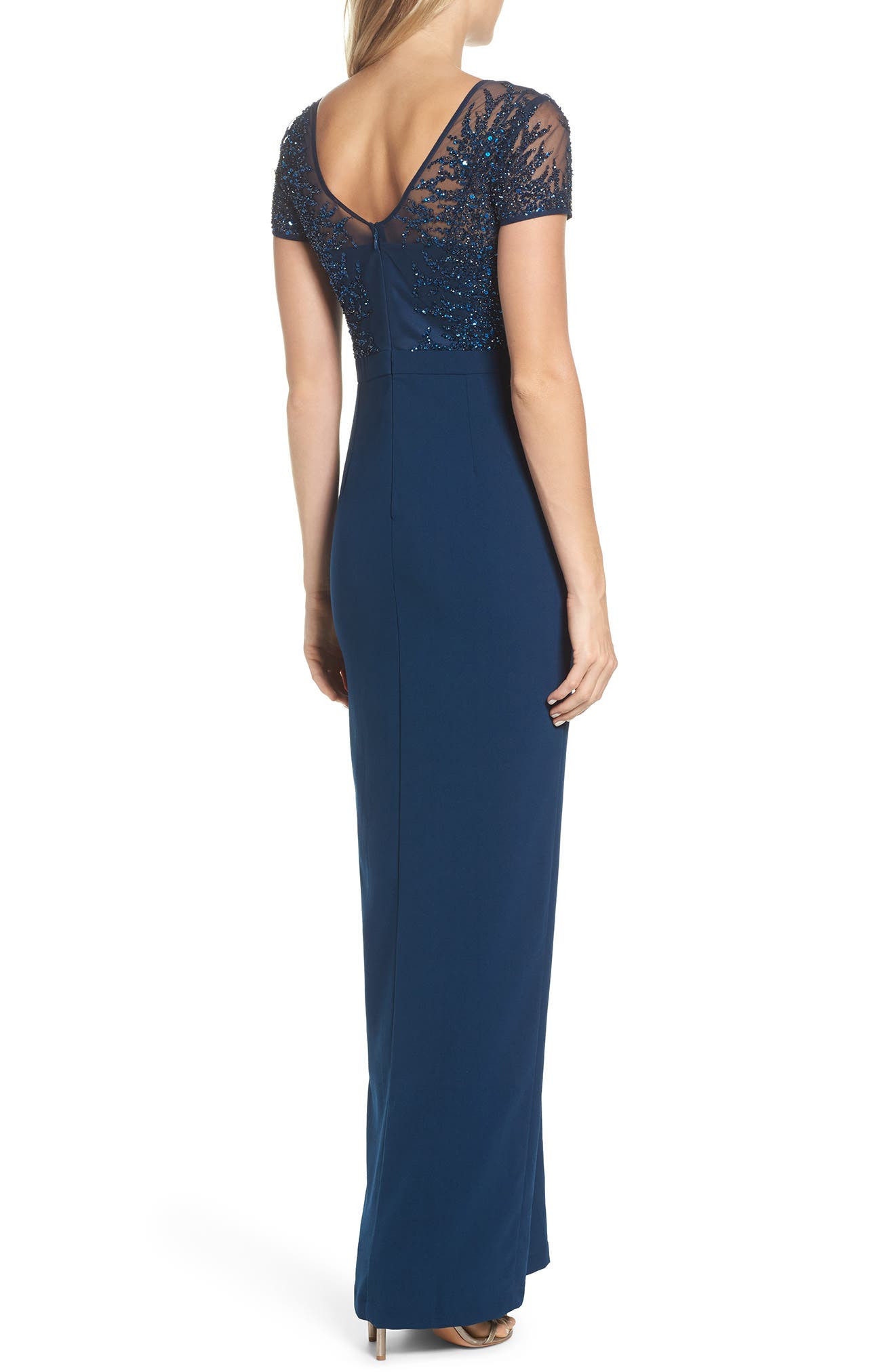 Beaded Bodice Ruffle Gown,                             Alternate thumbnail 2, color,                             Deep Blue