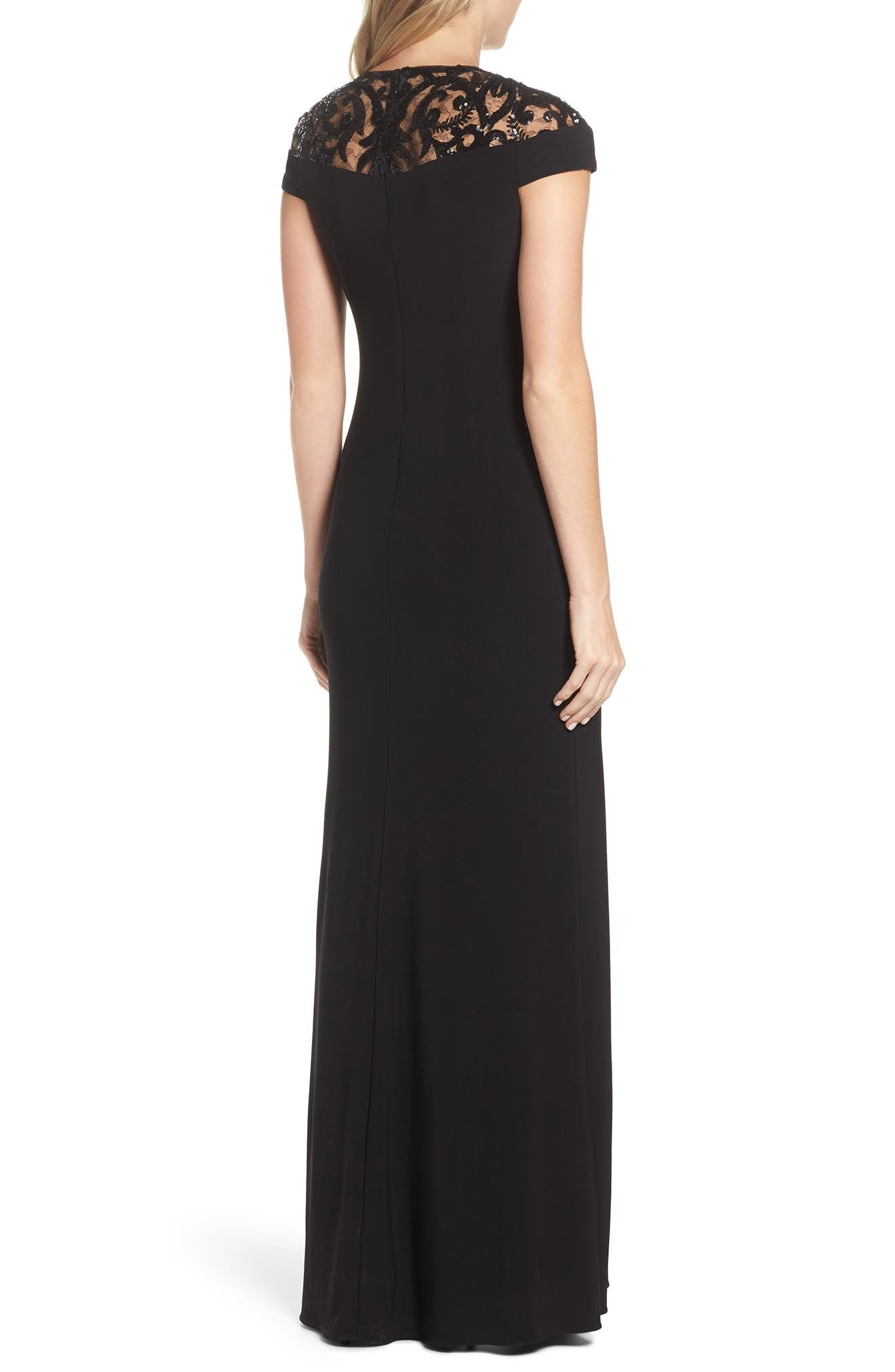 Sequin Embellished Gown,                             Alternate thumbnail 2, color,                             Black